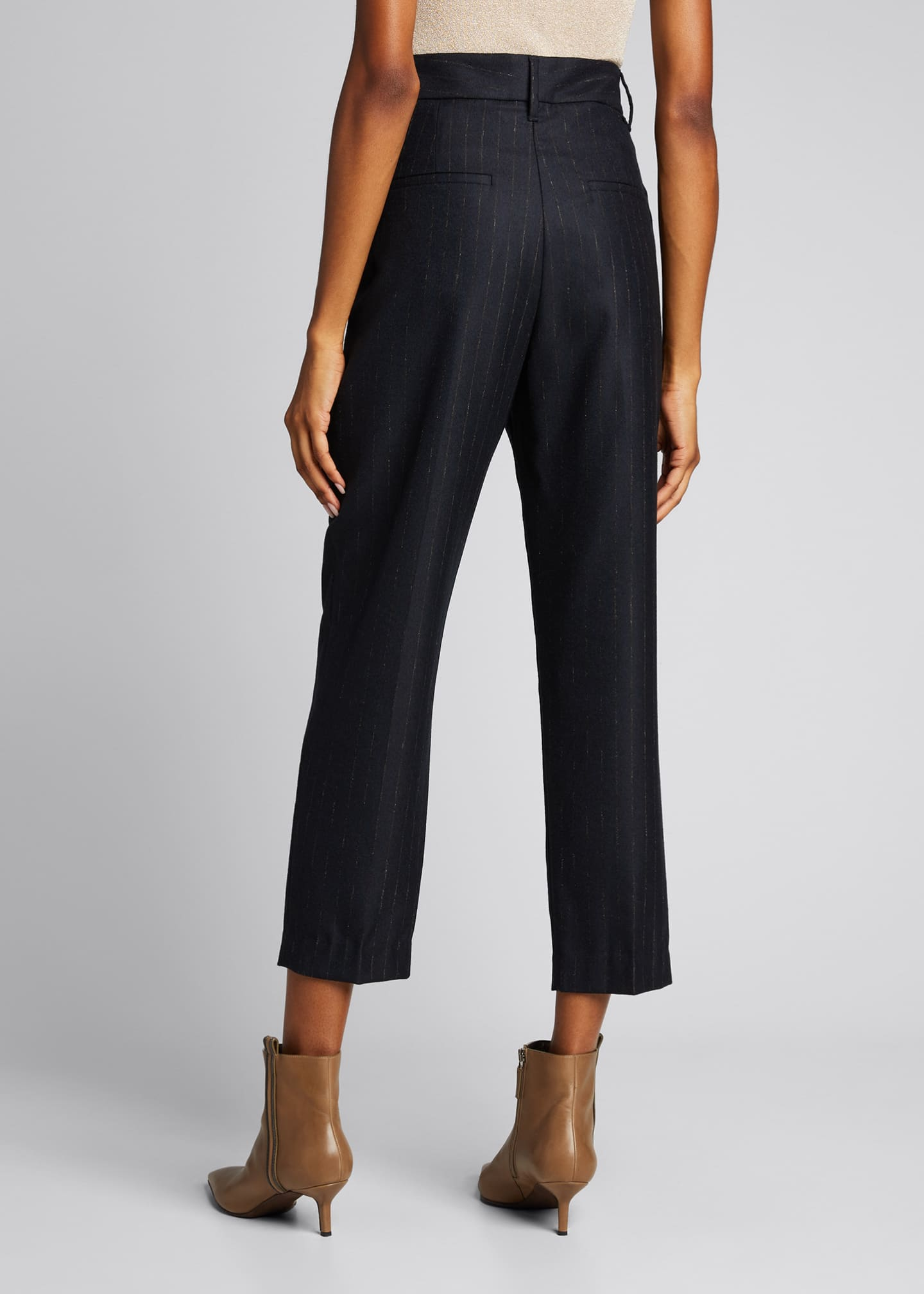 Image 2 of 5: Pinstripe Wool Pleated Cropped Trousers