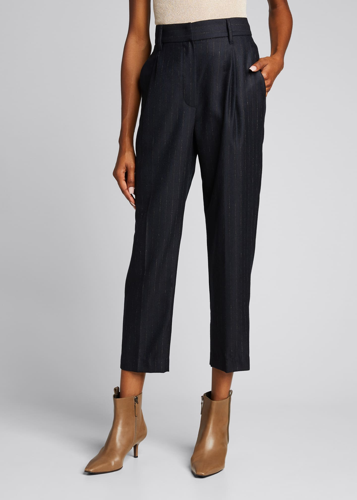 Image 3 of 5: Pinstripe Wool Pleated Cropped Trousers