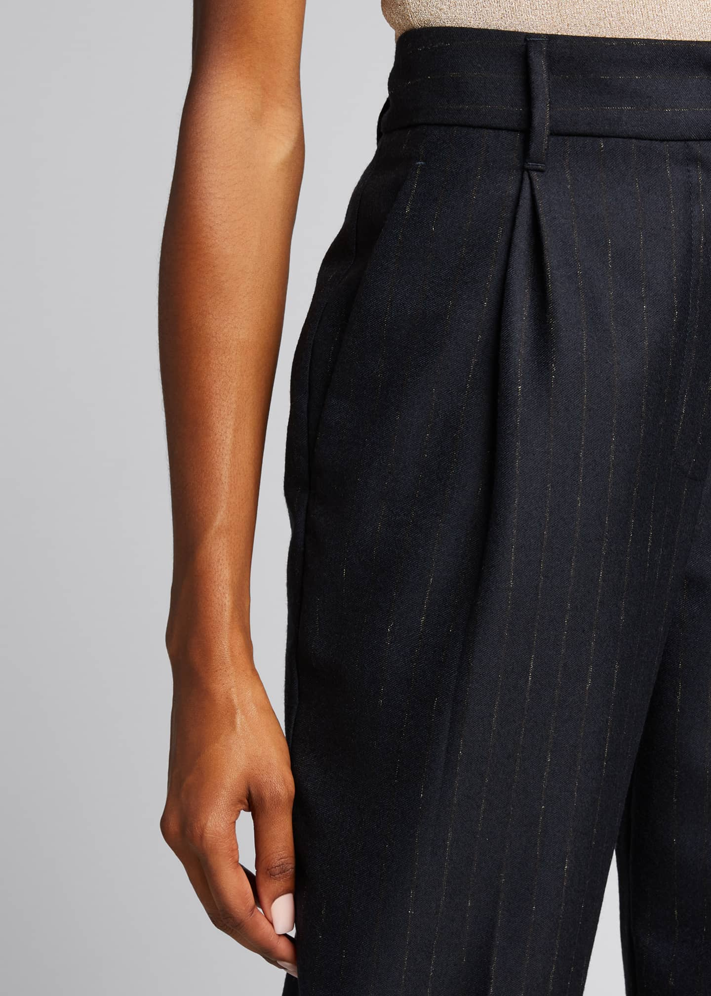 Image 4 of 5: Pinstripe Wool Pleated Cropped Trousers