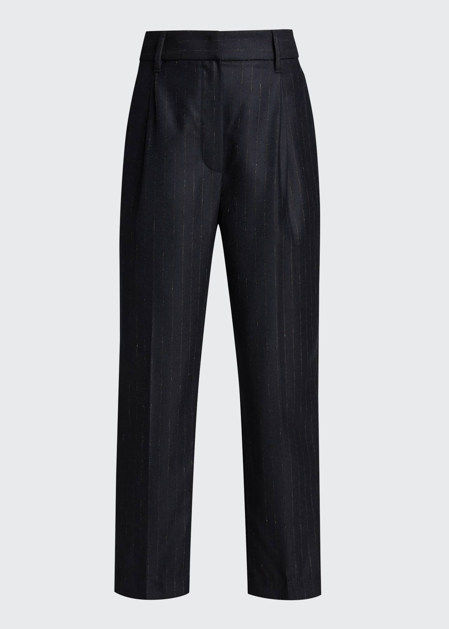 Image 5 of 5: Pinstripe Wool Pleated Cropped Trousers