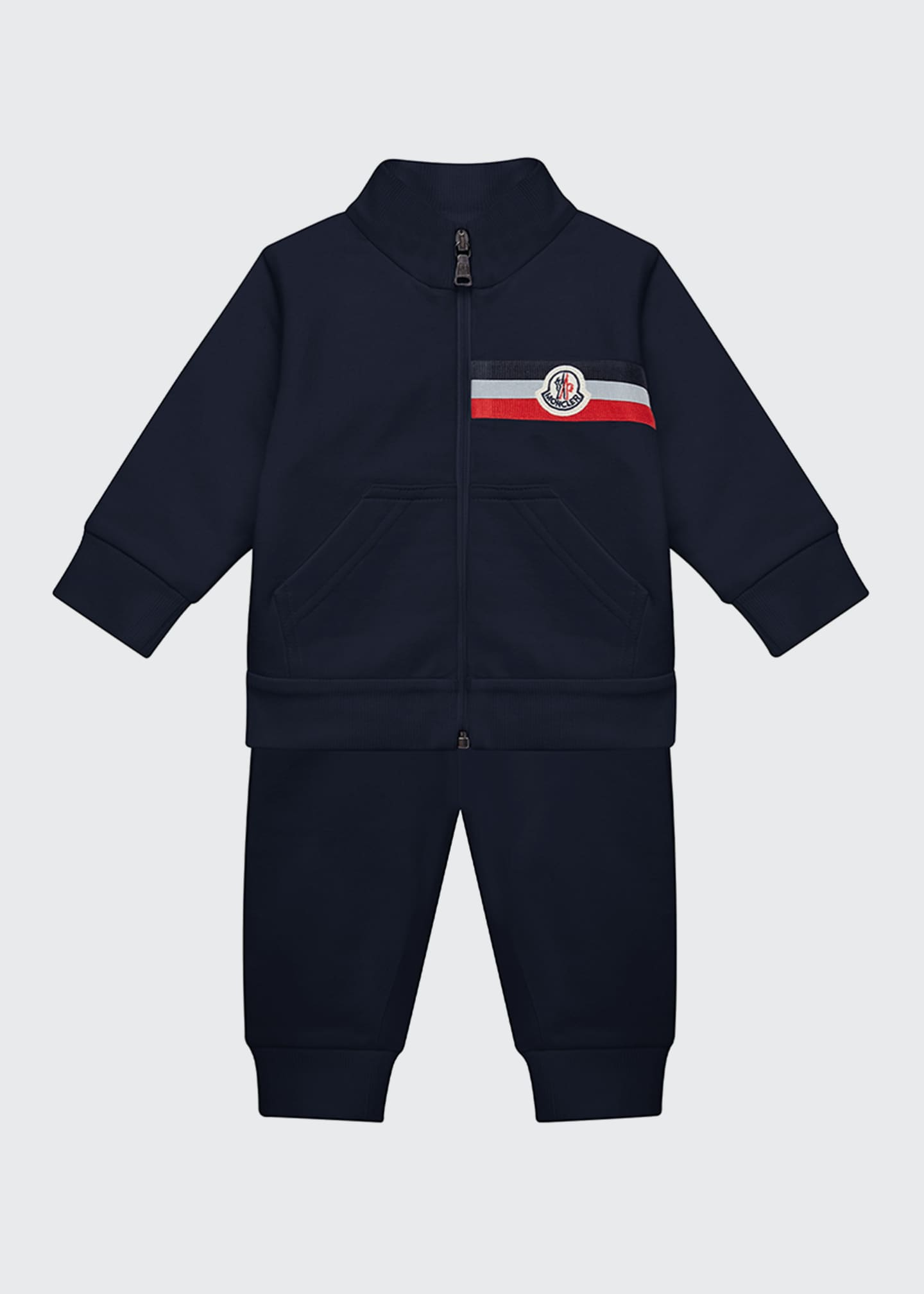 Image 1 of 2: Boy's Two-Piece Jogging Set w/ Logo Chest Patch, Size 12M-3