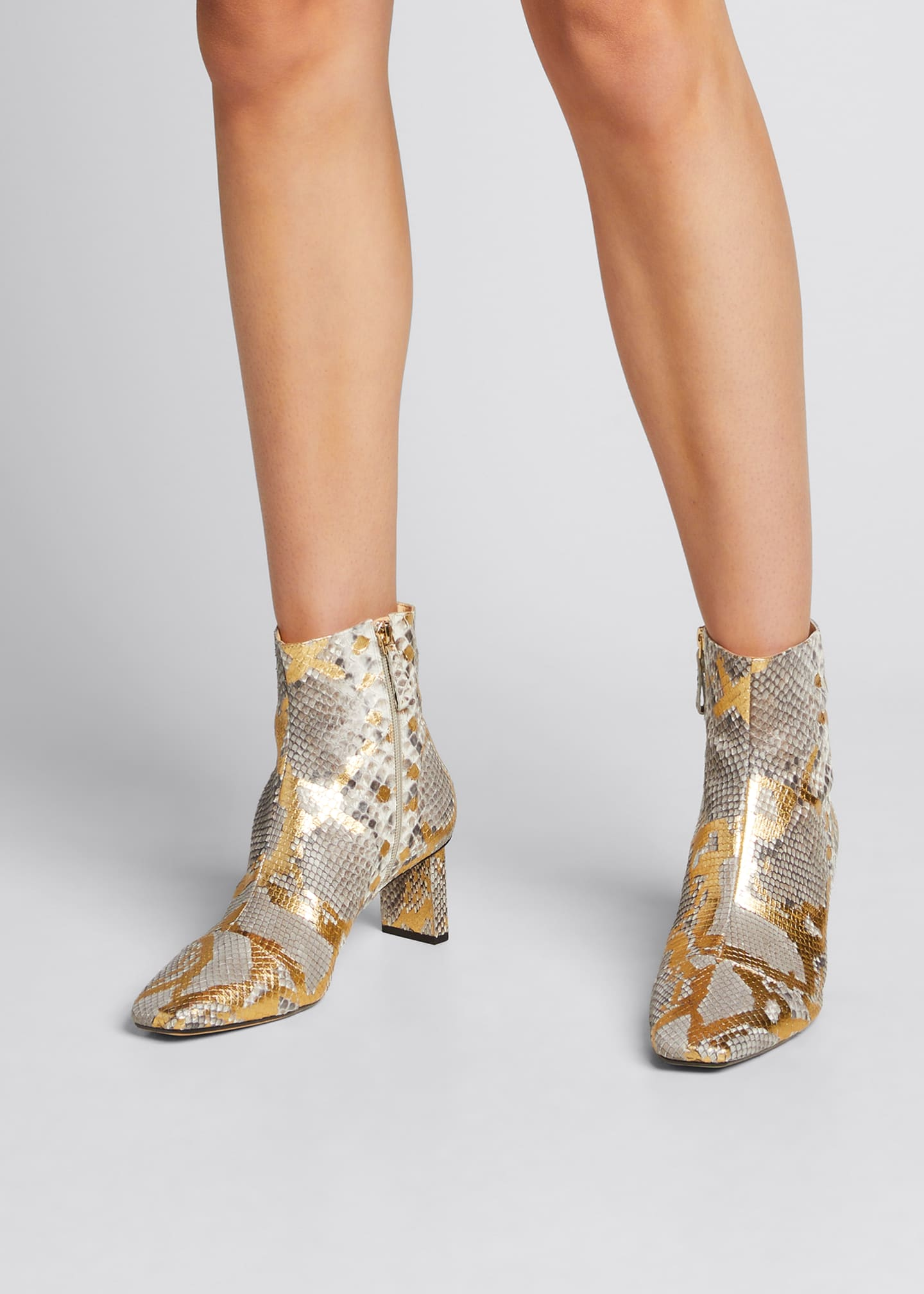 Image 2 of 5: 50mm Python-Print Ankle Booties