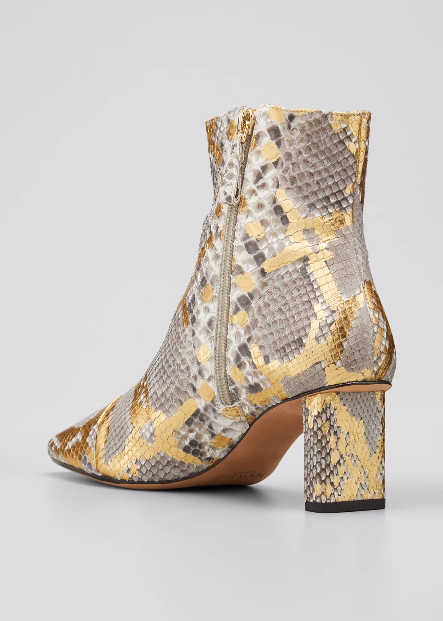 Image 4 of 5: 50mm Python-Print Ankle Booties