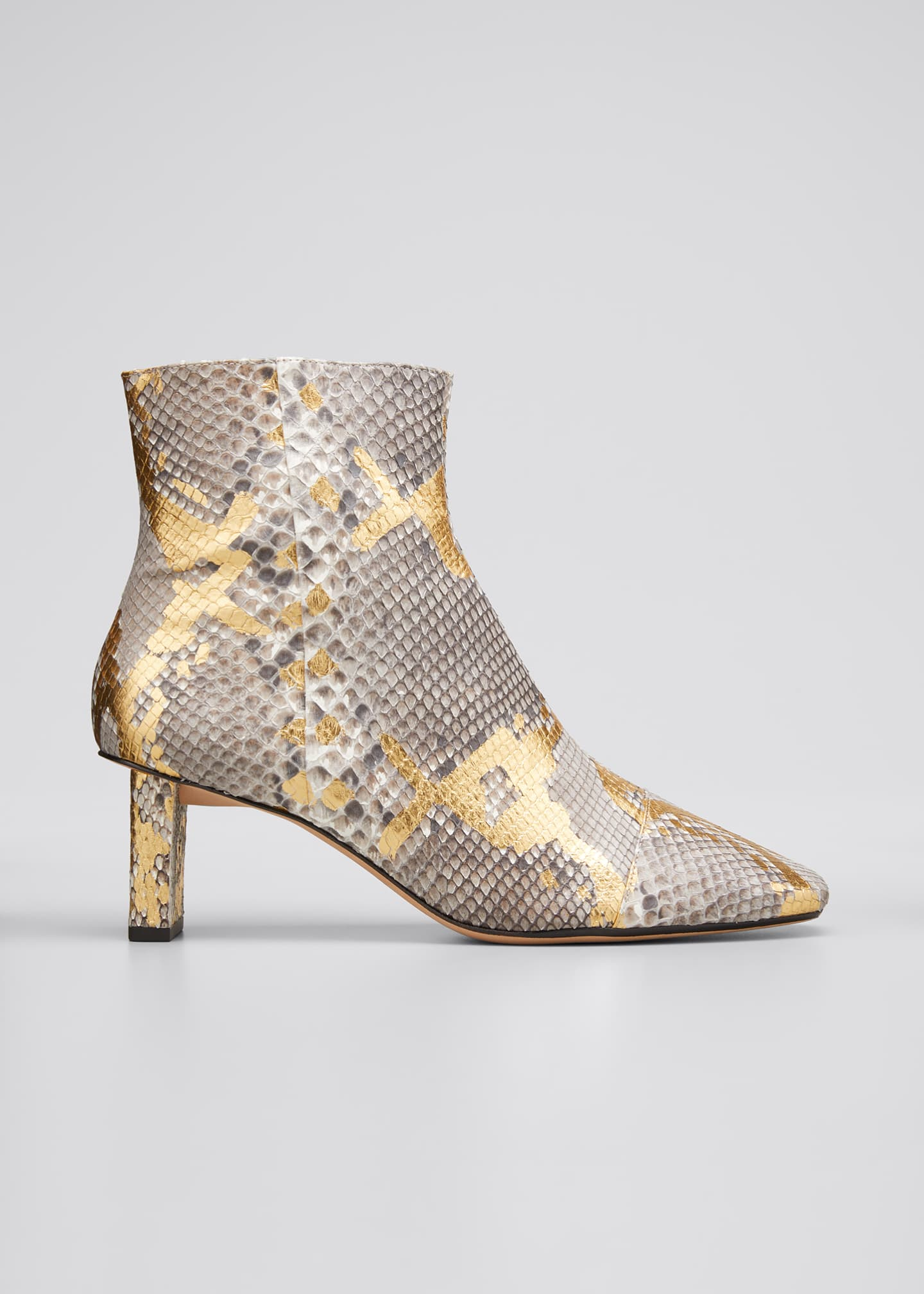 Image 1 of 5: 50mm Python-Print Ankle Booties