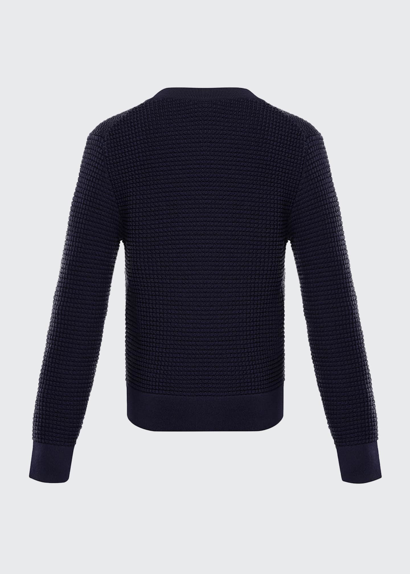 Image 2 of 2: Boy's Textured Crewneck Sweater w/ Center Stripe, Size 4-6