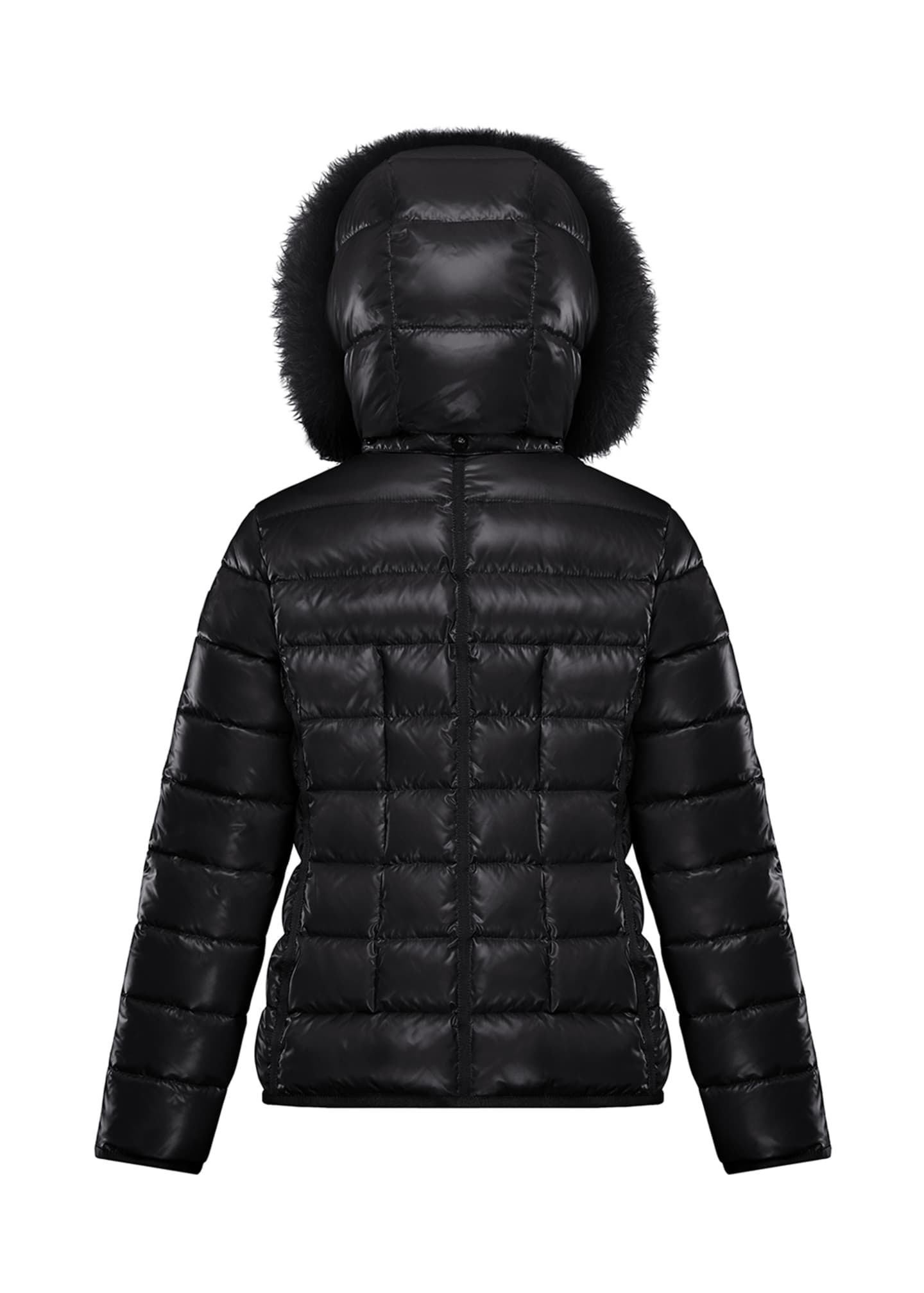 Image 2 of 2: Armoise Quilted Puffer Jacket w/ Fur-Trim Hood, Size 8-14