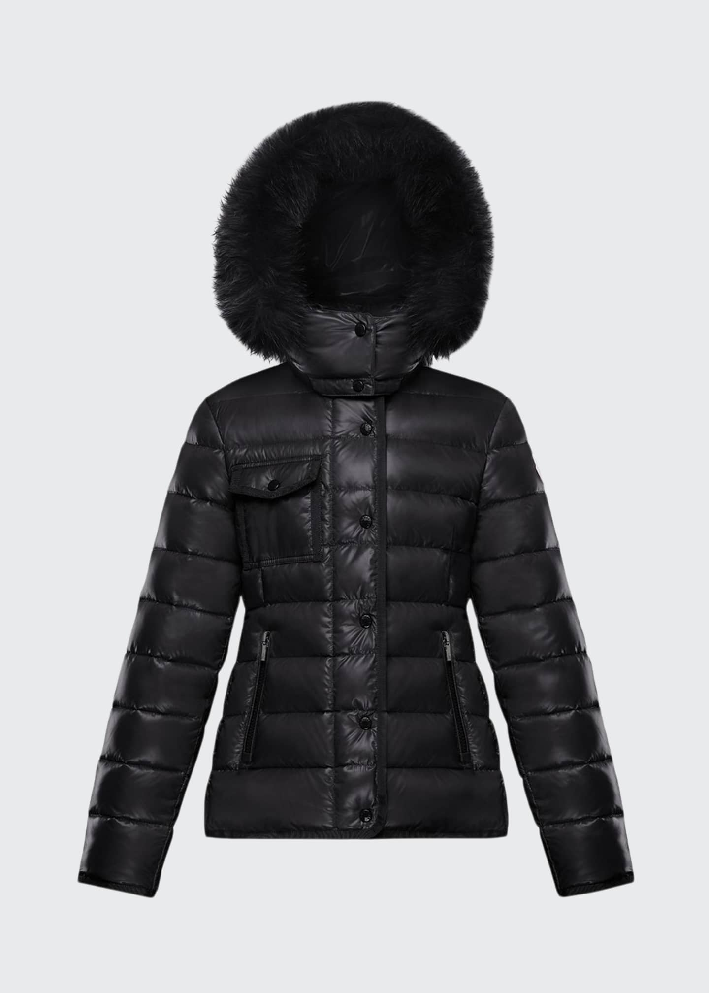 Image 1 of 2: Armoise Quilted Puffer Jacket w/ Fur-Trim Hood, Size 8-14