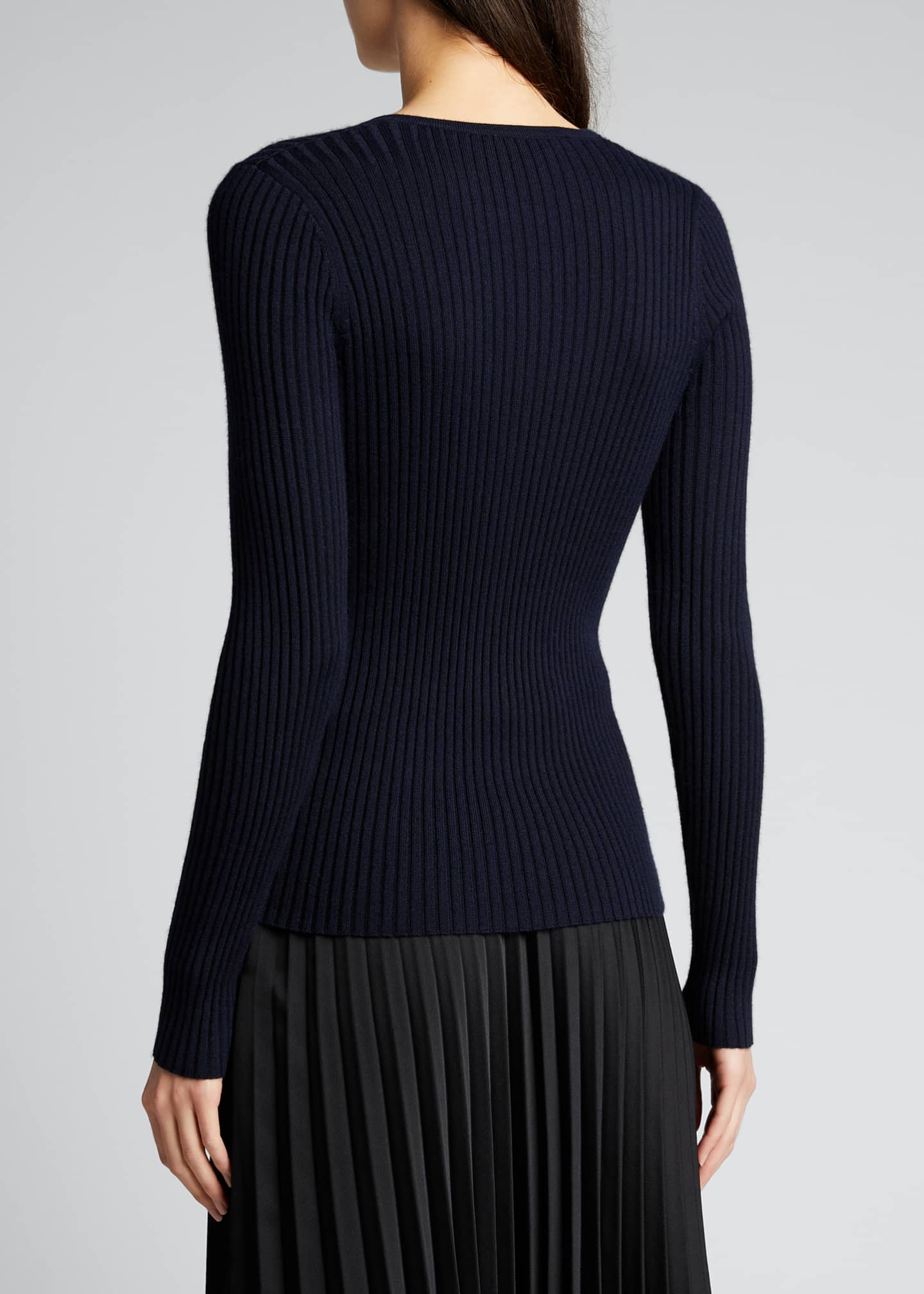 Image 2 of 5: Ribbed Knit V-Neck Sweater