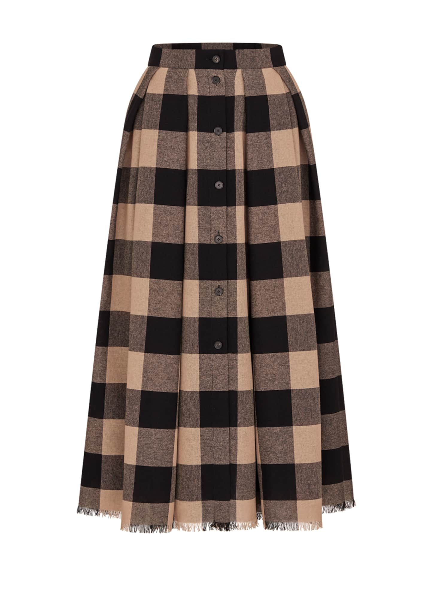 Image 1 of 1: Light Wool Check Midi Skirt