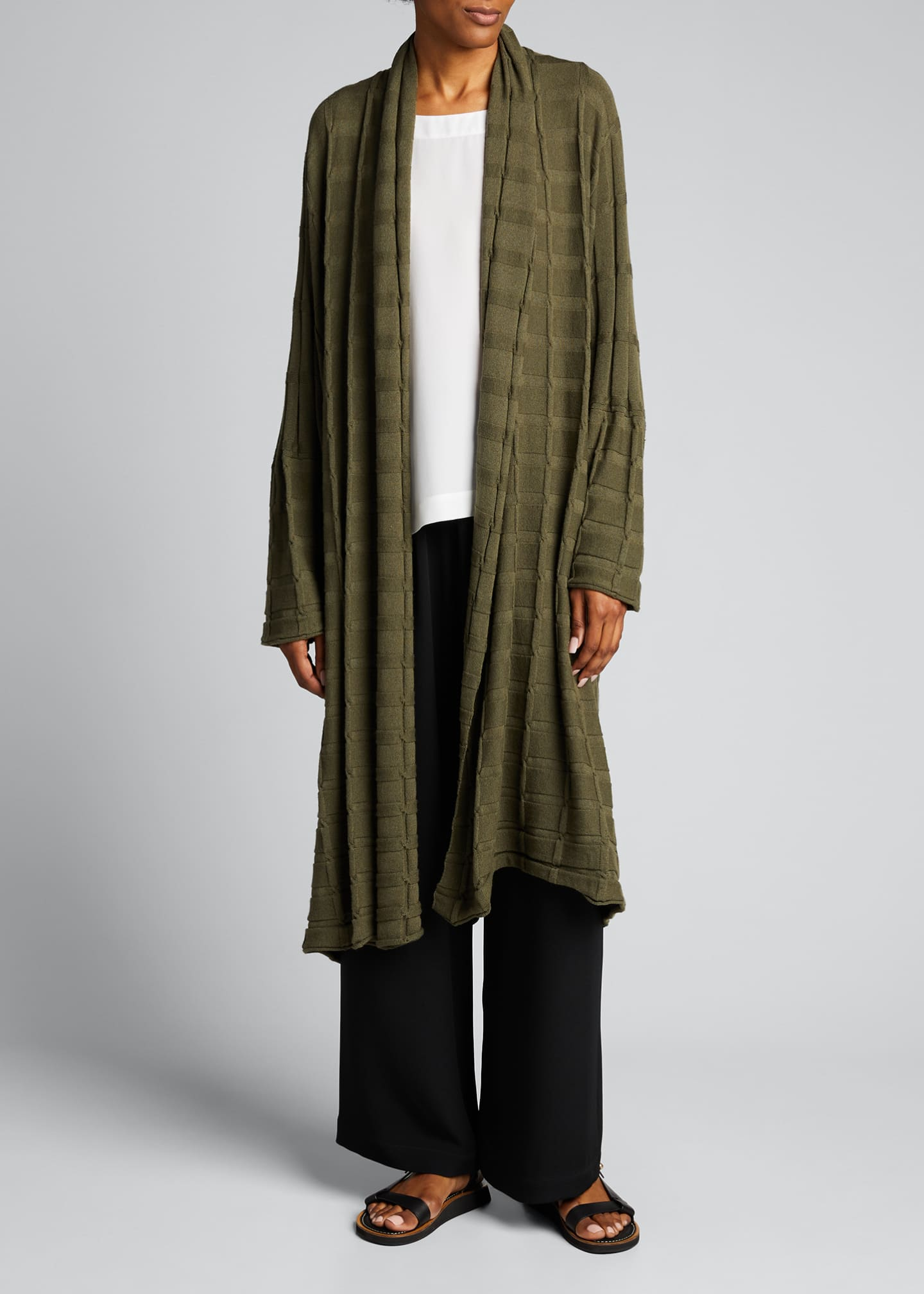 Image 3 of 4: Wide Square Cashmere Duster Cardigan