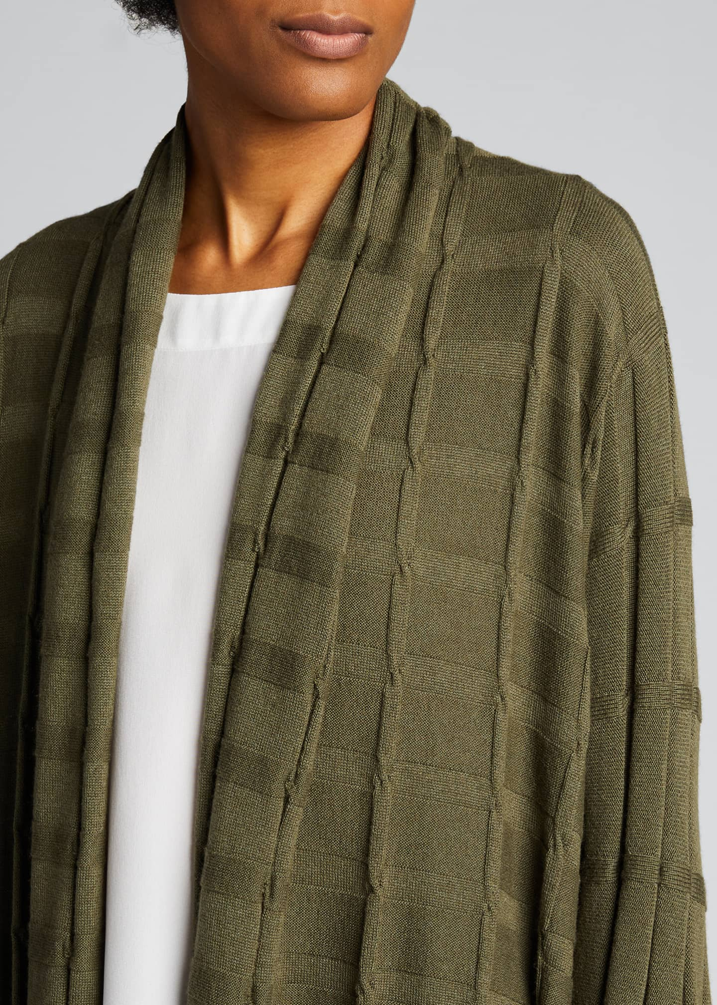 Image 4 of 4: Wide Square Cashmere Duster Cardigan