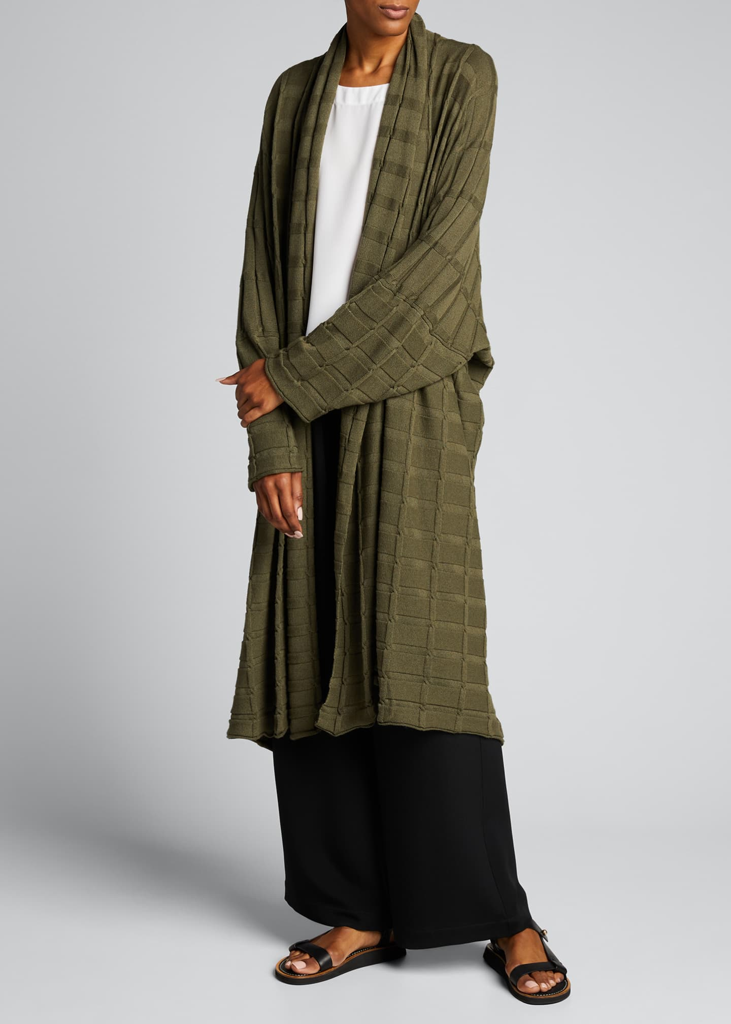 Image 1 of 4: Wide Square Cashmere Duster Cardigan