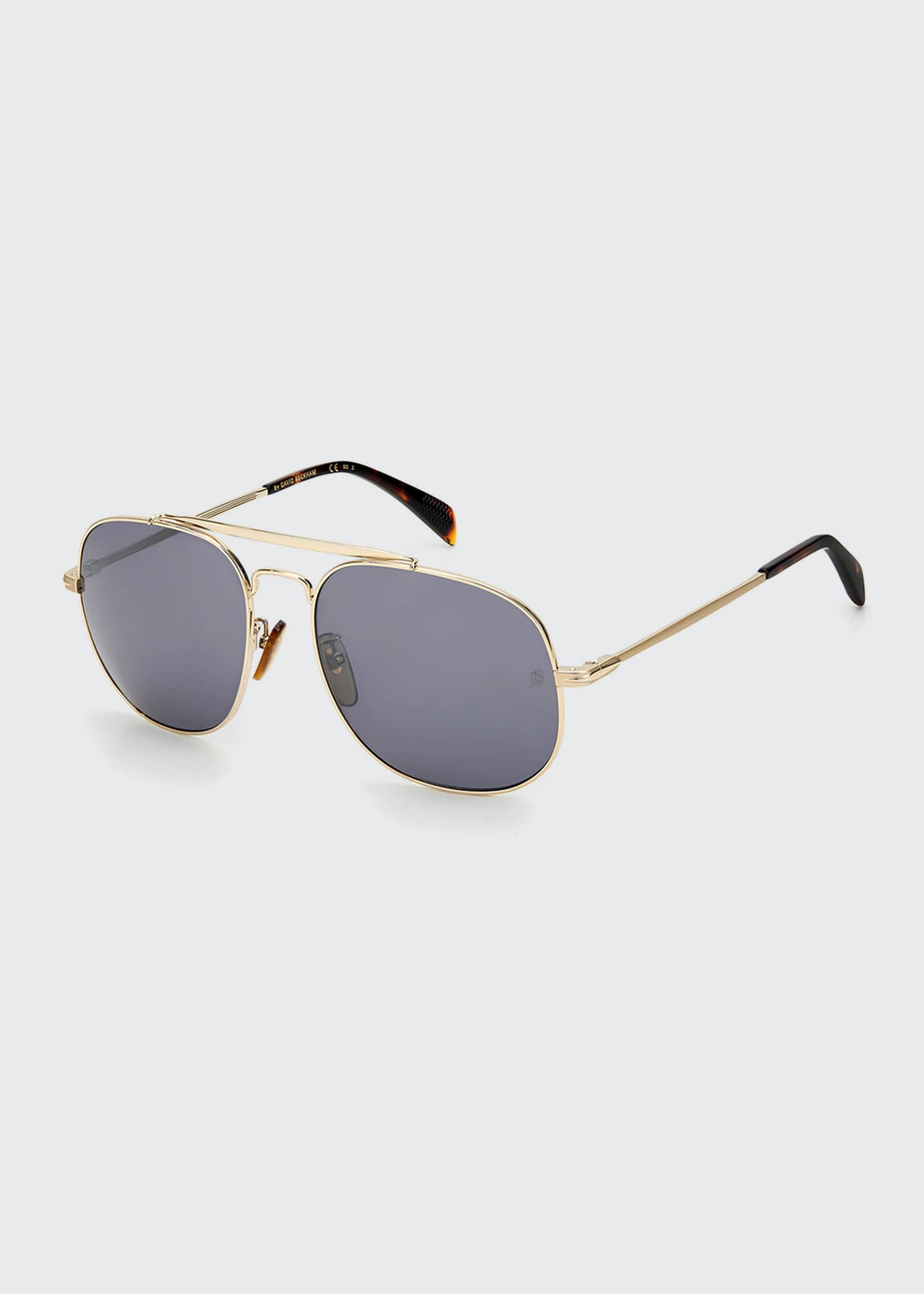 Image 1 of 1: Men's Square Metal Brow-Bar Sunglasses