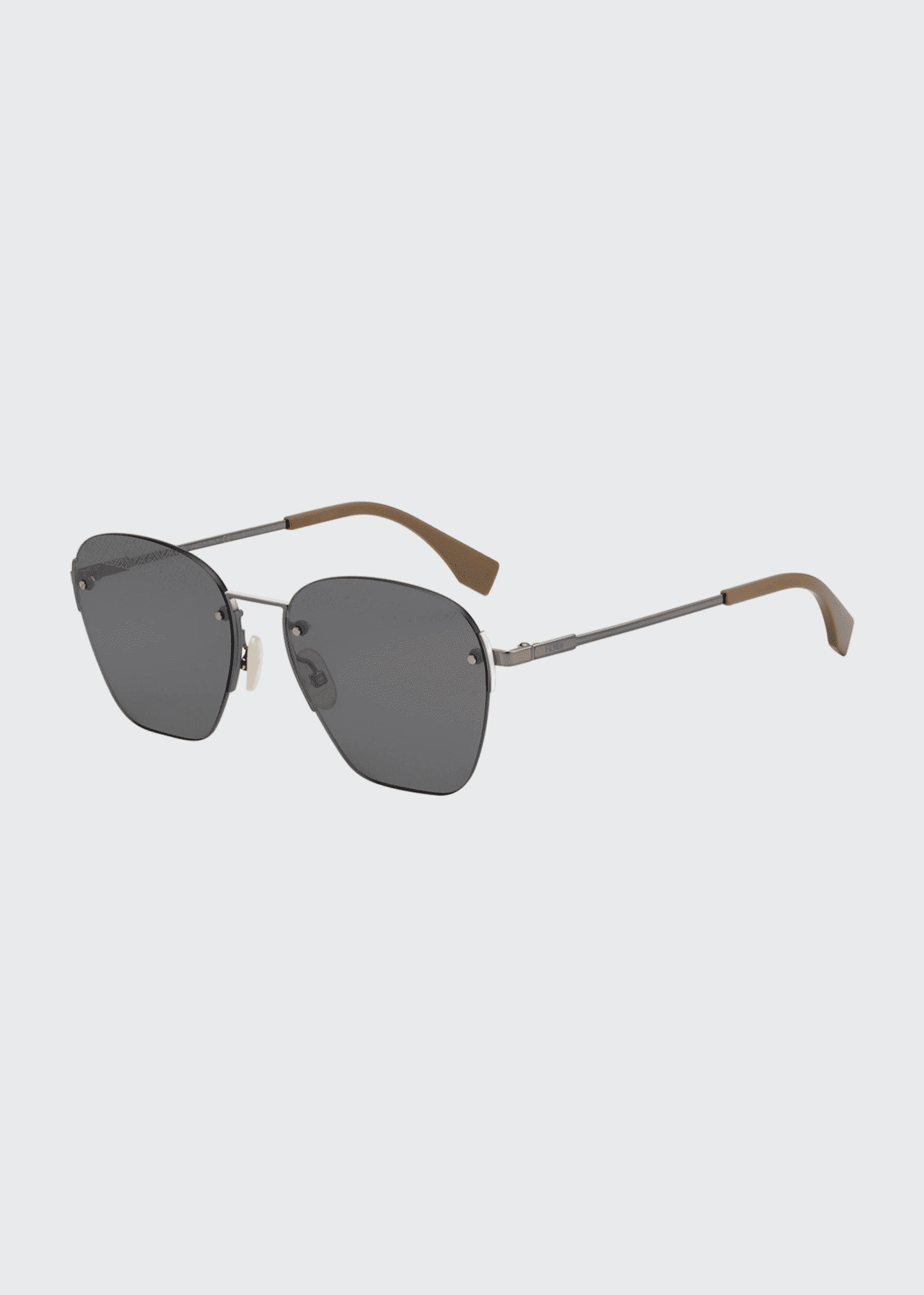 Image 1 of 1: Men's Rimless Geometric Metal Sunglasses