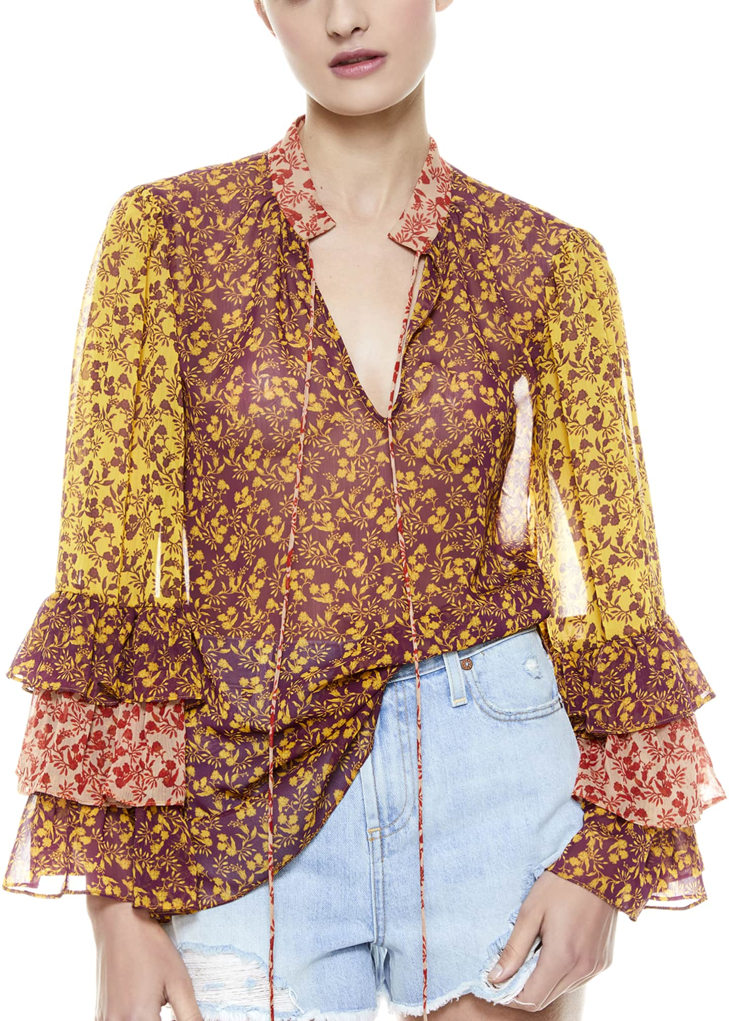 Image 1 of 5: Justice Tiered Ruffle-Sleeve Blouse