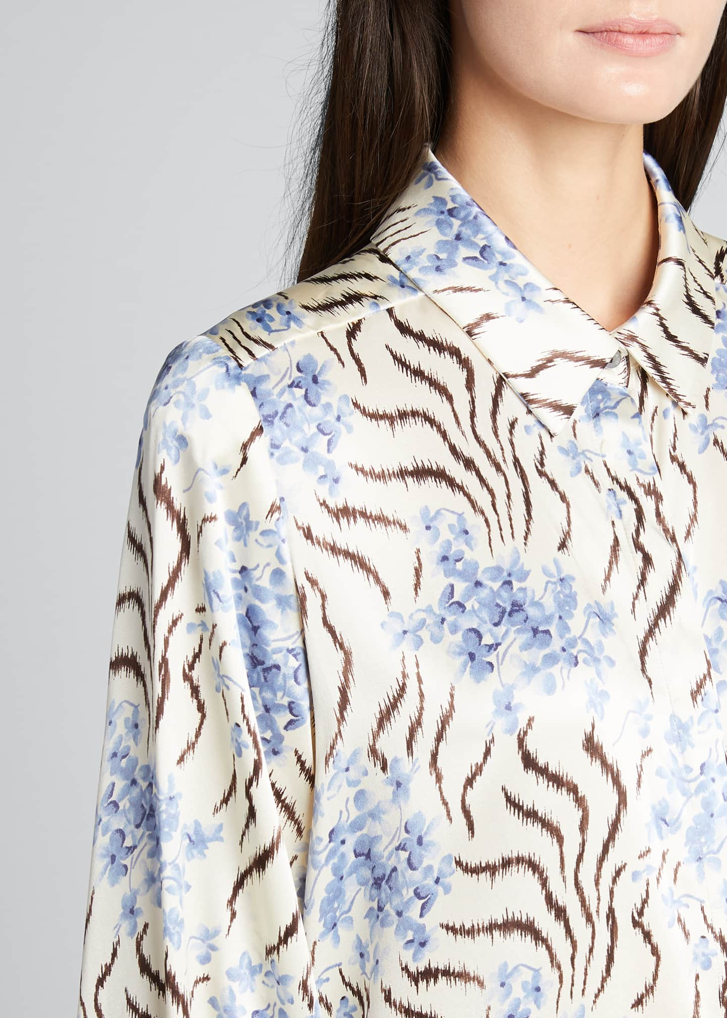 Image 4 of 5: Eli Long-Sleeve Silk Top