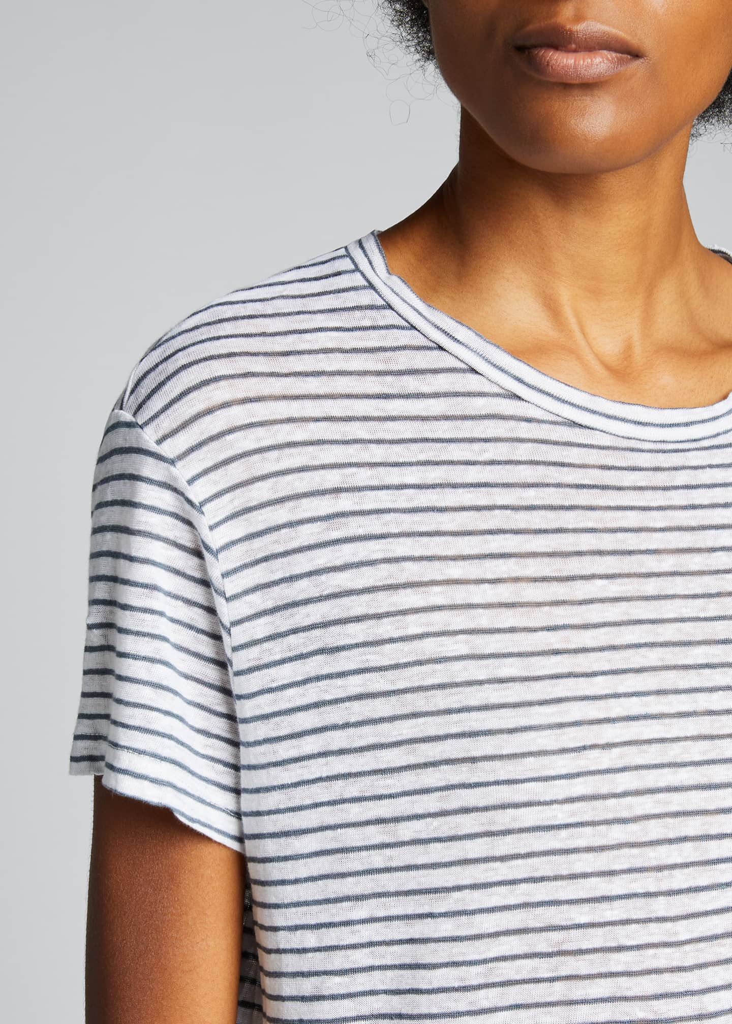 Image 4 of 5: Striped Vintage Crewneck Linen Tee