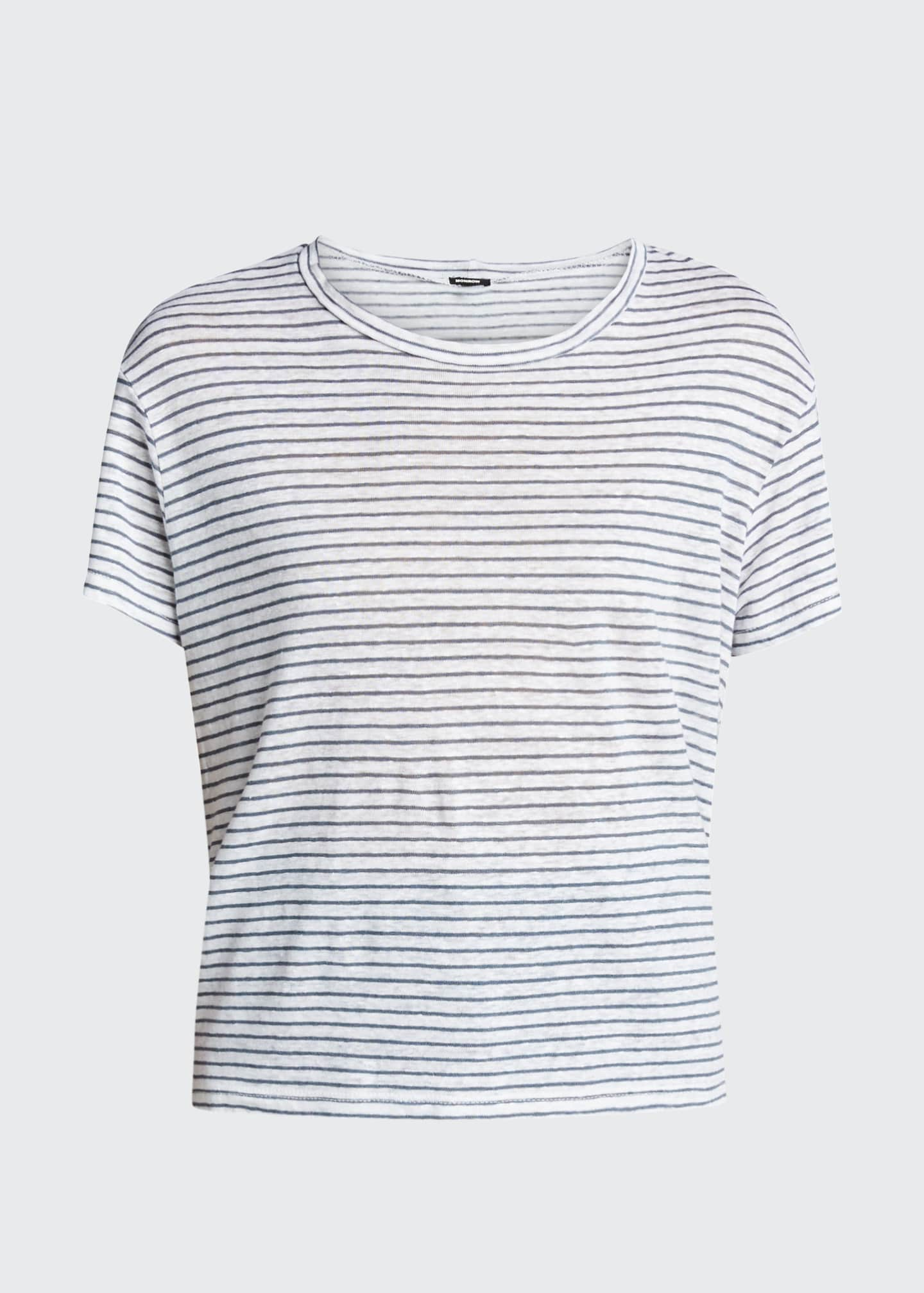 Image 5 of 5: Striped Vintage Crewneck Linen Tee