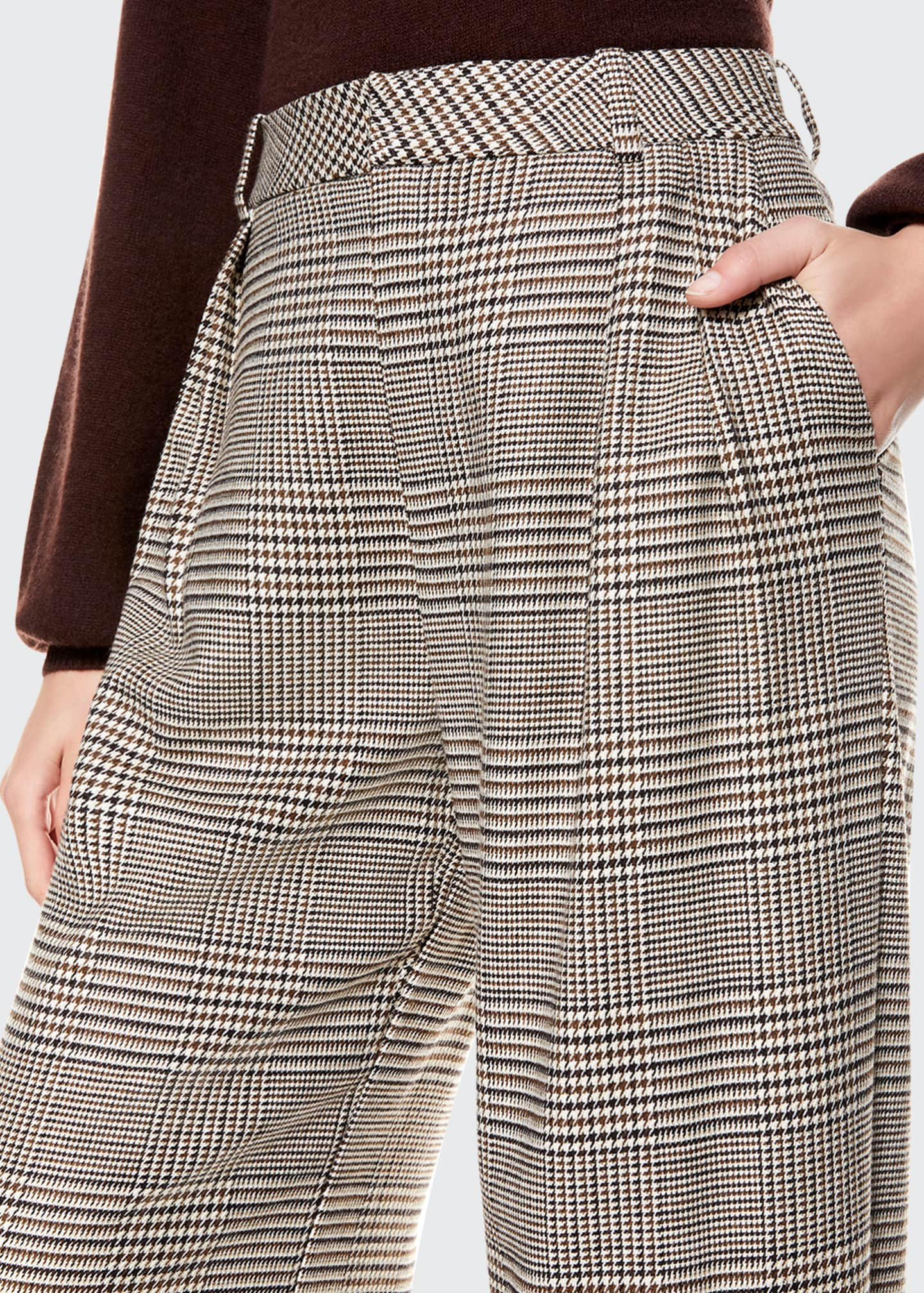 Image 3 of 4: Eric High-Waist Front Pleat Check Pants