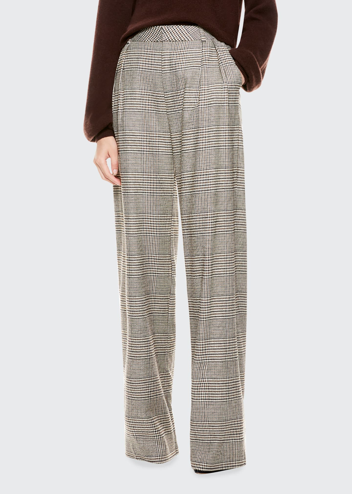 Image 1 of 4: Eric High-Waist Front Pleat Check Pants