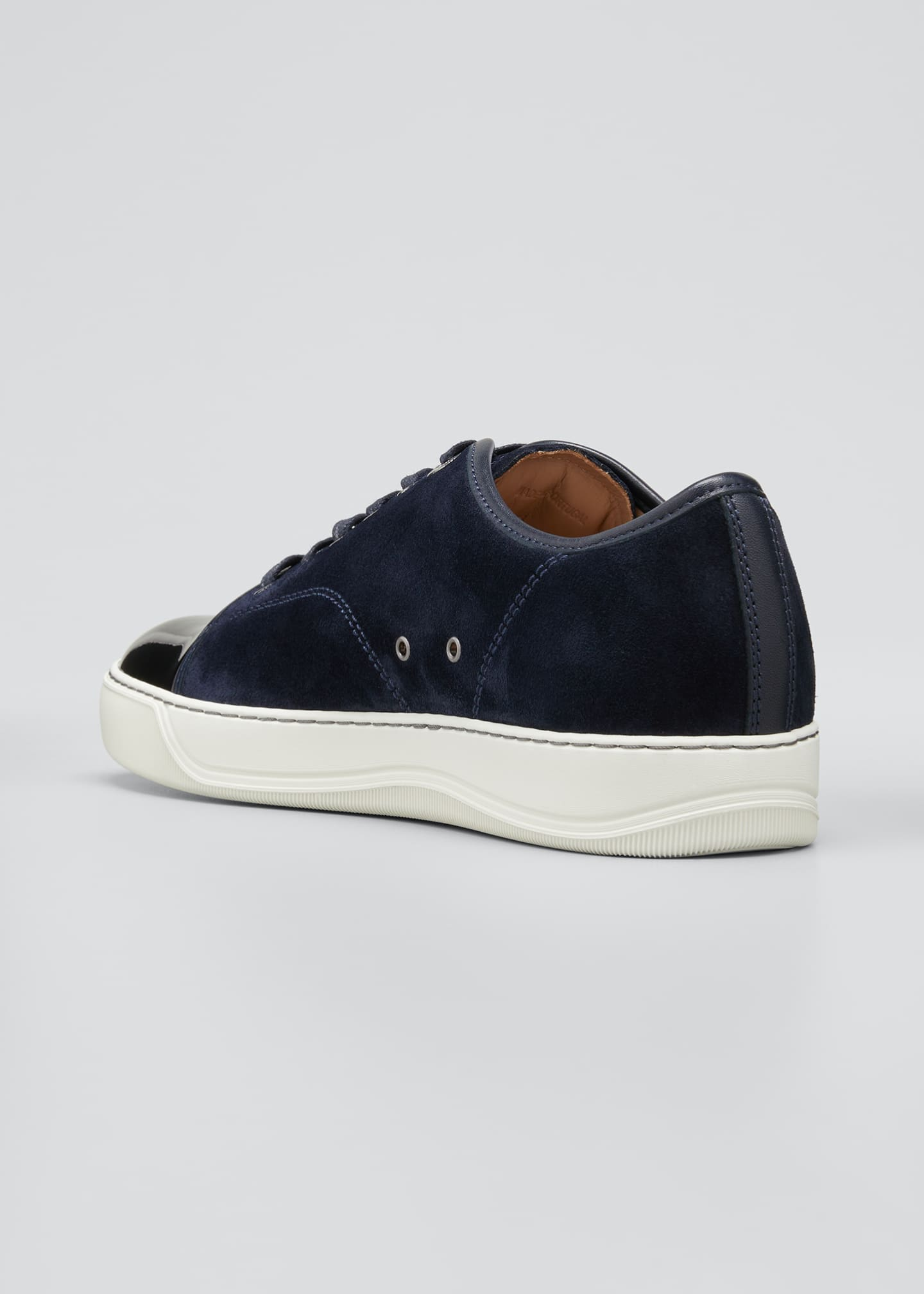 Image 2 of 3: Men's Patent Leather/Suede Low-Top Sneakers