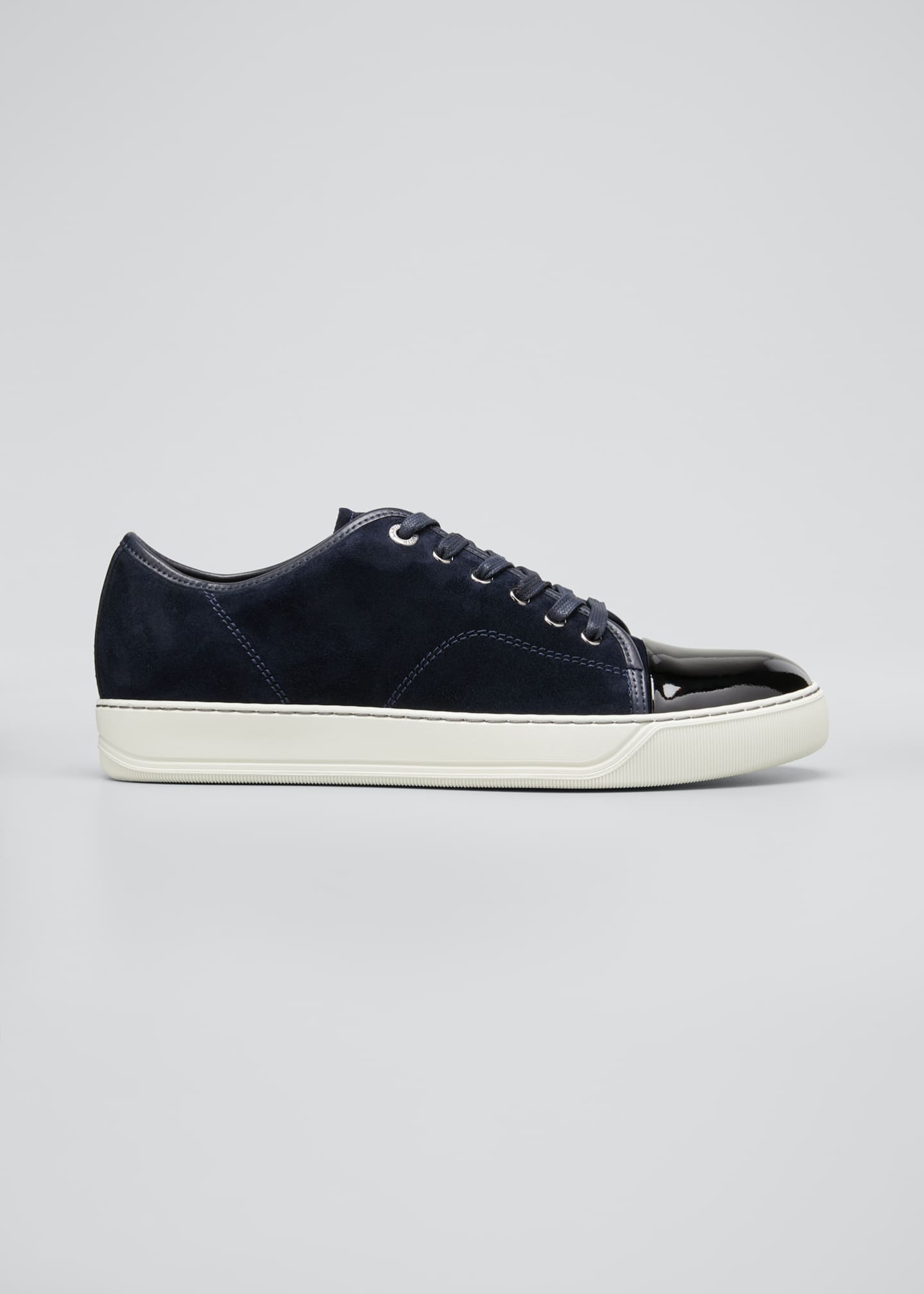 Image 1 of 3: Men's Patent Leather/Suede Low-Top Sneakers