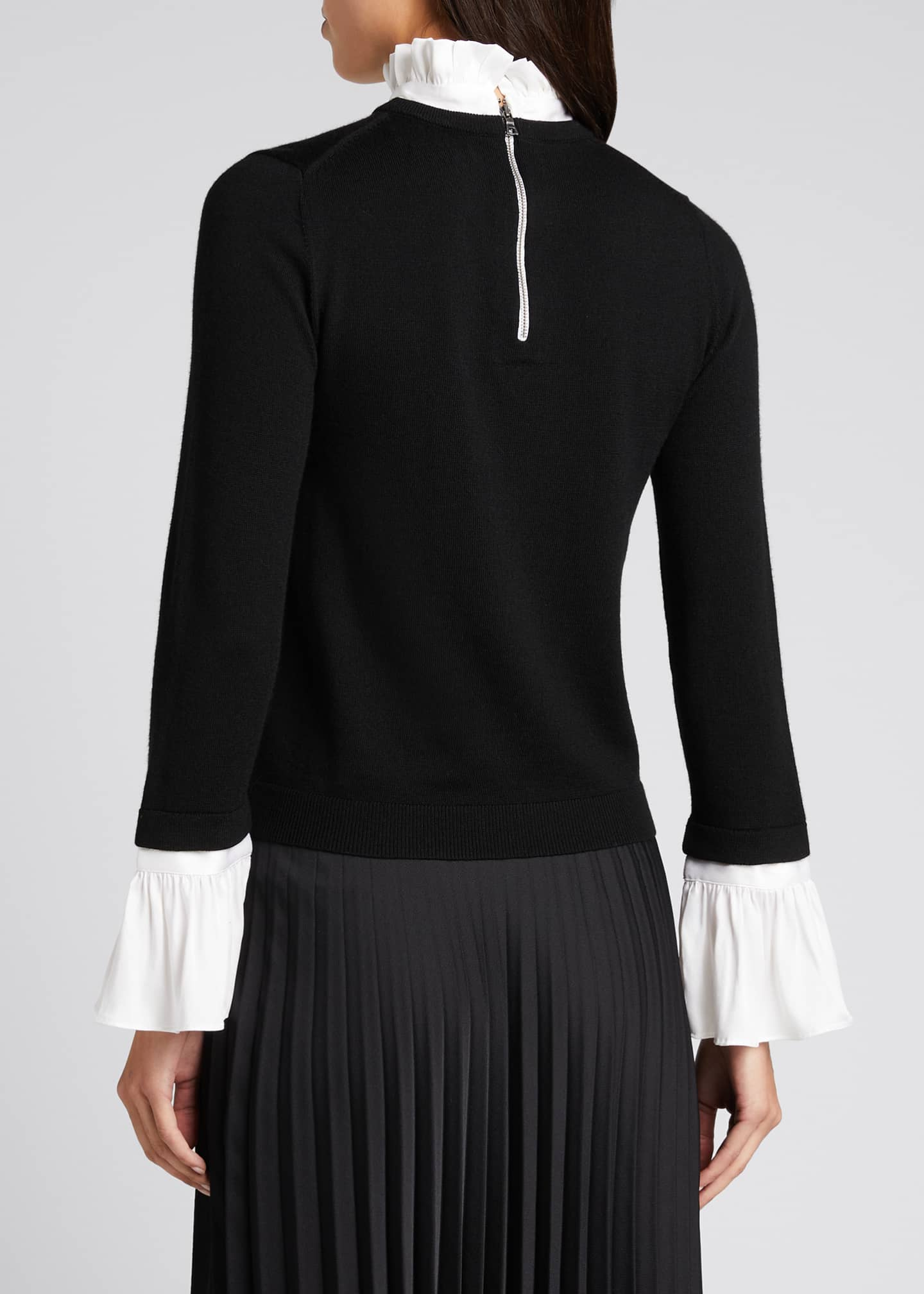 Image 2 of 5: Cornelia Ruffle Collar Bell-Sleeve Top