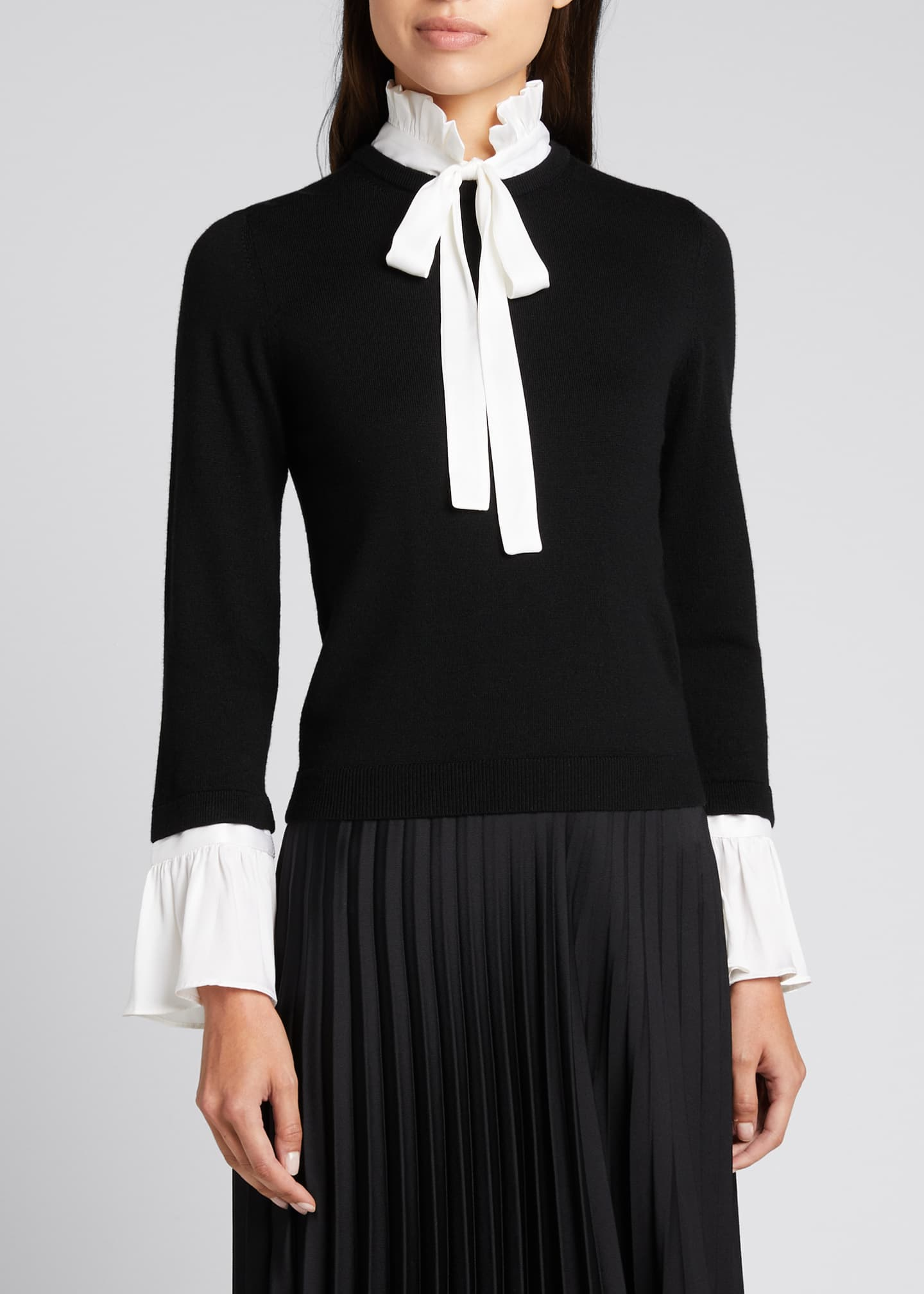Image 3 of 5: Cornelia Ruffle Collar Bell-Sleeve Top