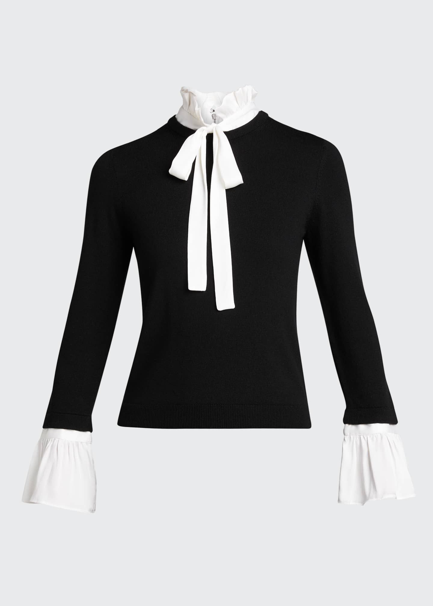 Image 5 of 5: Cornelia Ruffle Collar Bell-Sleeve Top