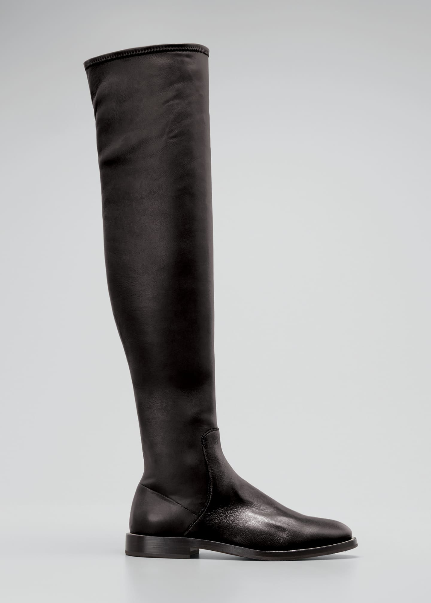 Image 1 of 3: Leather Over-the-Knee Riding Boots