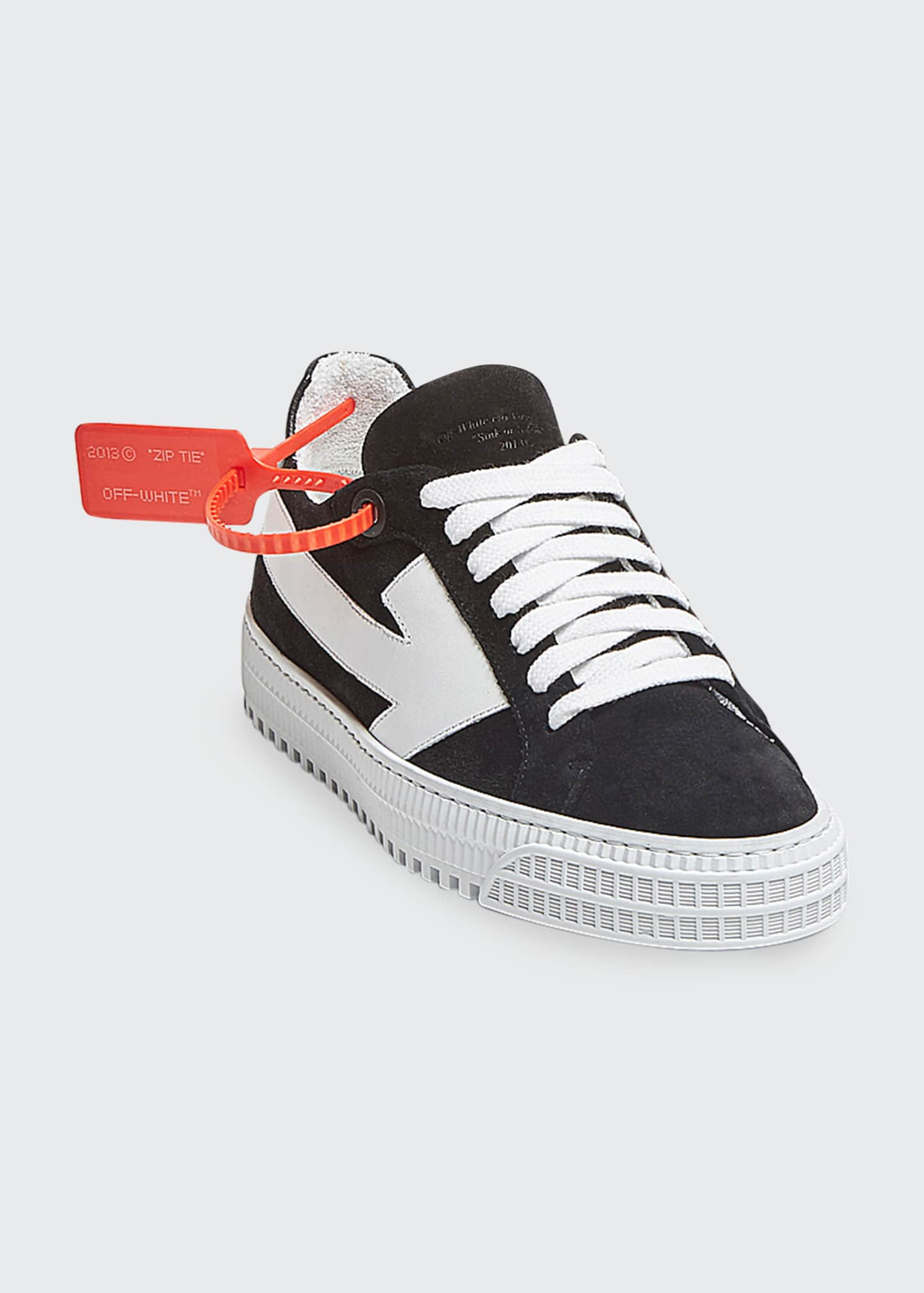 Image 1 of 1: Arrow Mixed Leather Low-Top Sneakers
