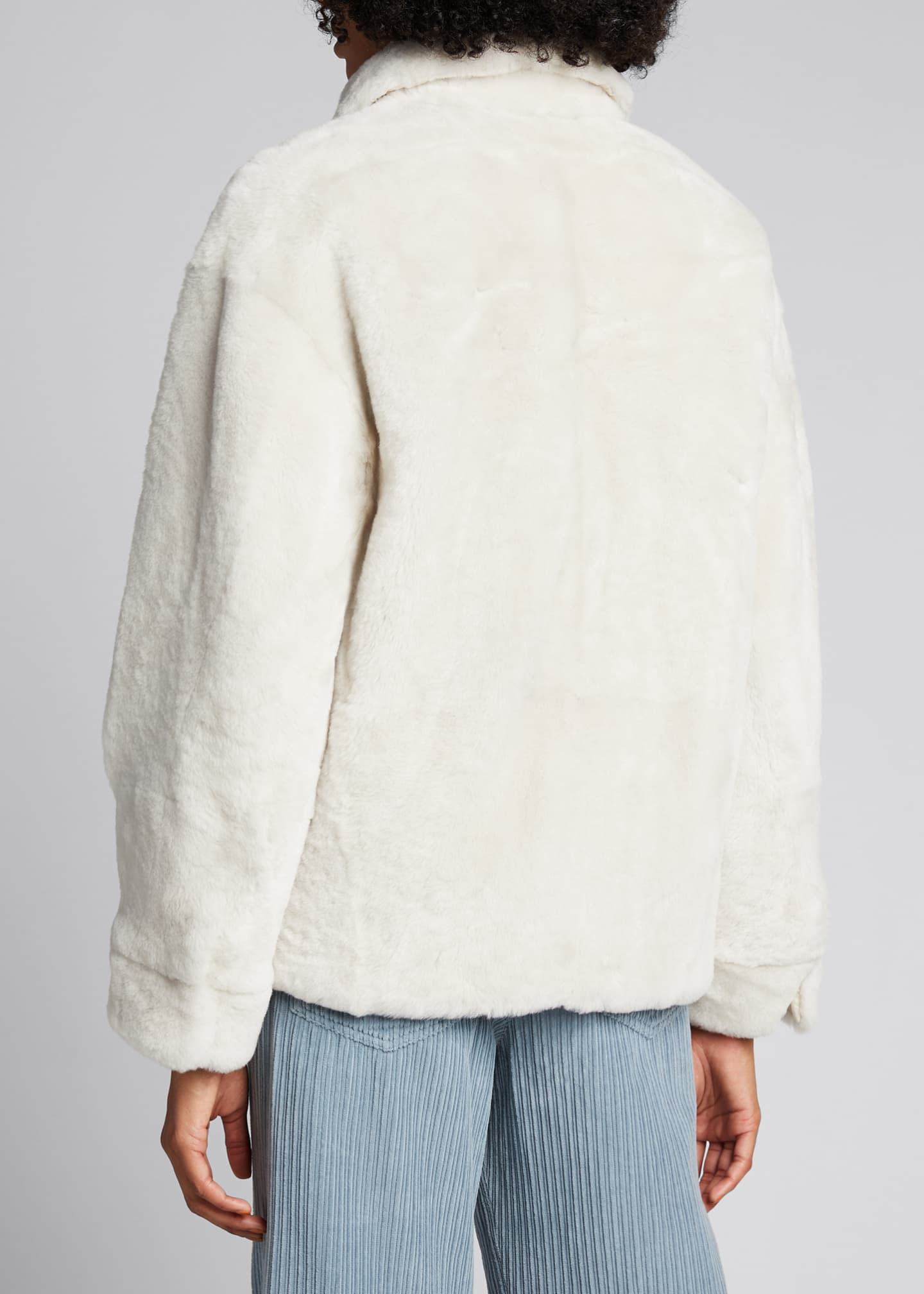 Image 2 of 5: Reversible Shearling & Nylon Short Jacket