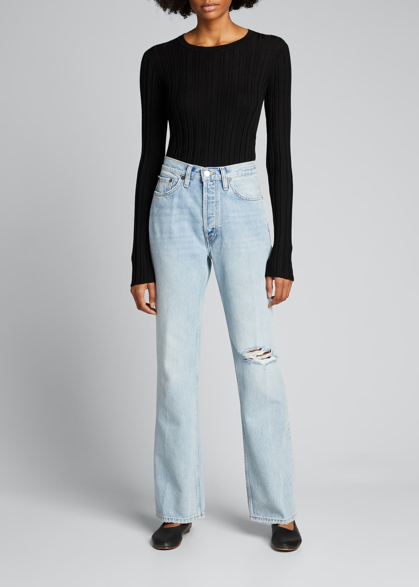 Image 1 of 5: 70s Distressed Boot-Cut Jeans