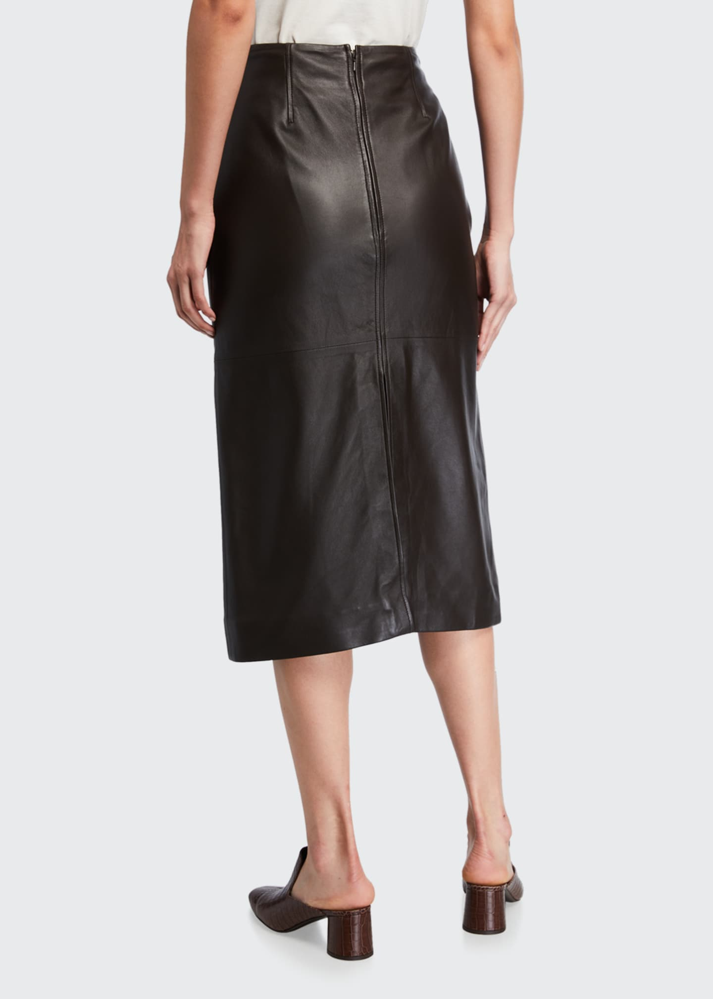 Image 2 of 3: Knee-Length Paneled Leather Skirt