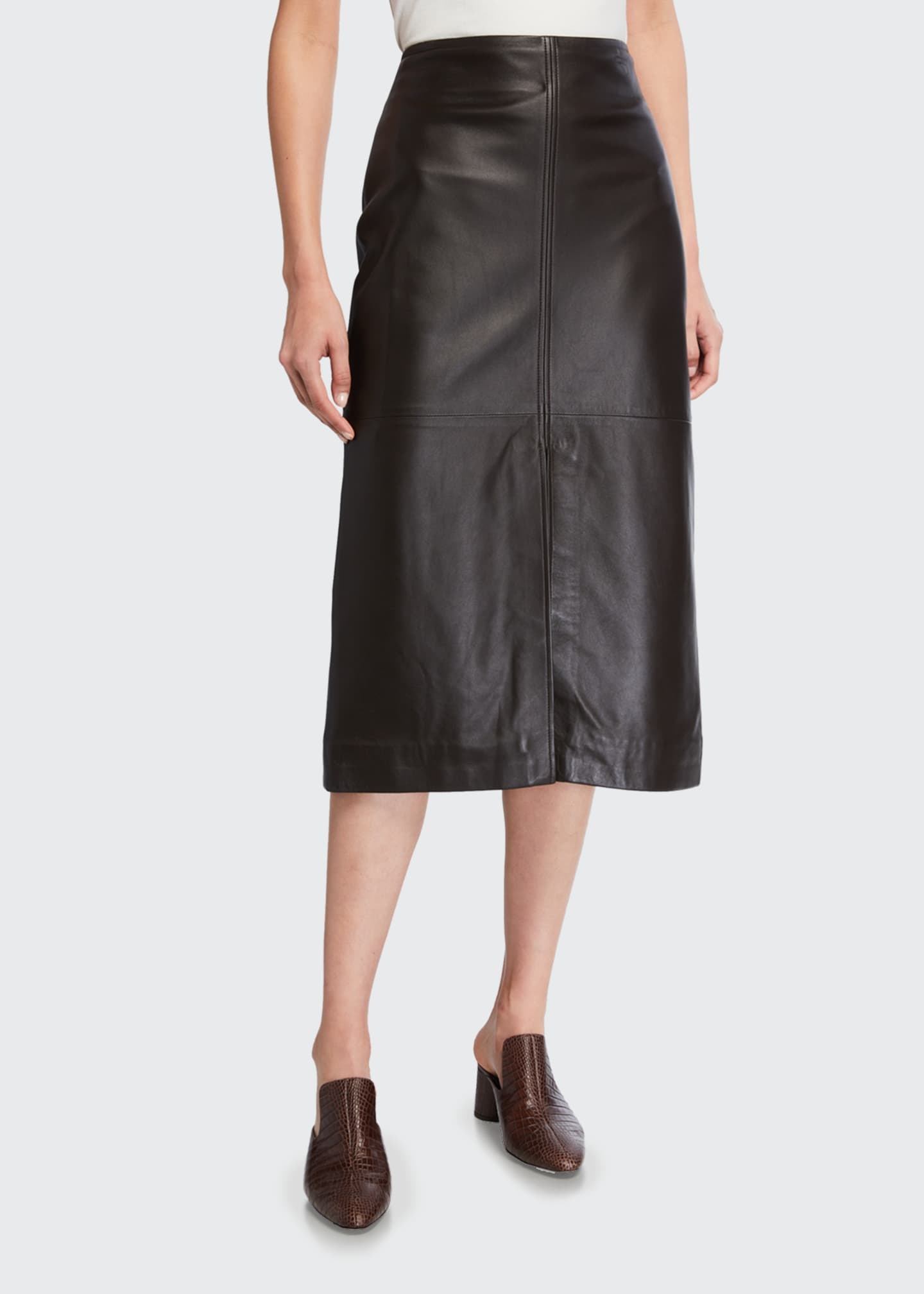Image 3 of 3: Knee-Length Paneled Leather Skirt