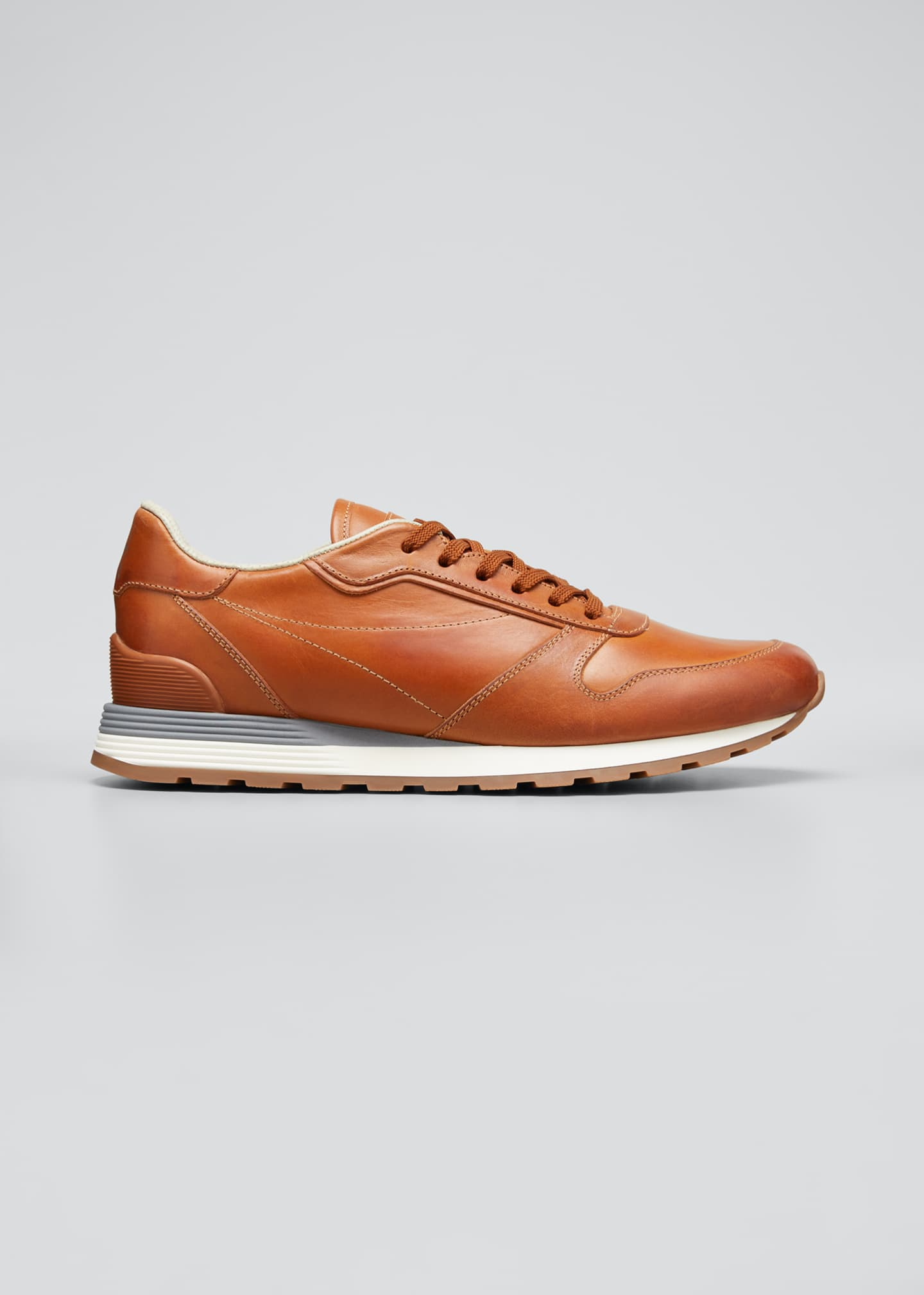 Image 1 of 3: Men's Leather Trainer Sneakers