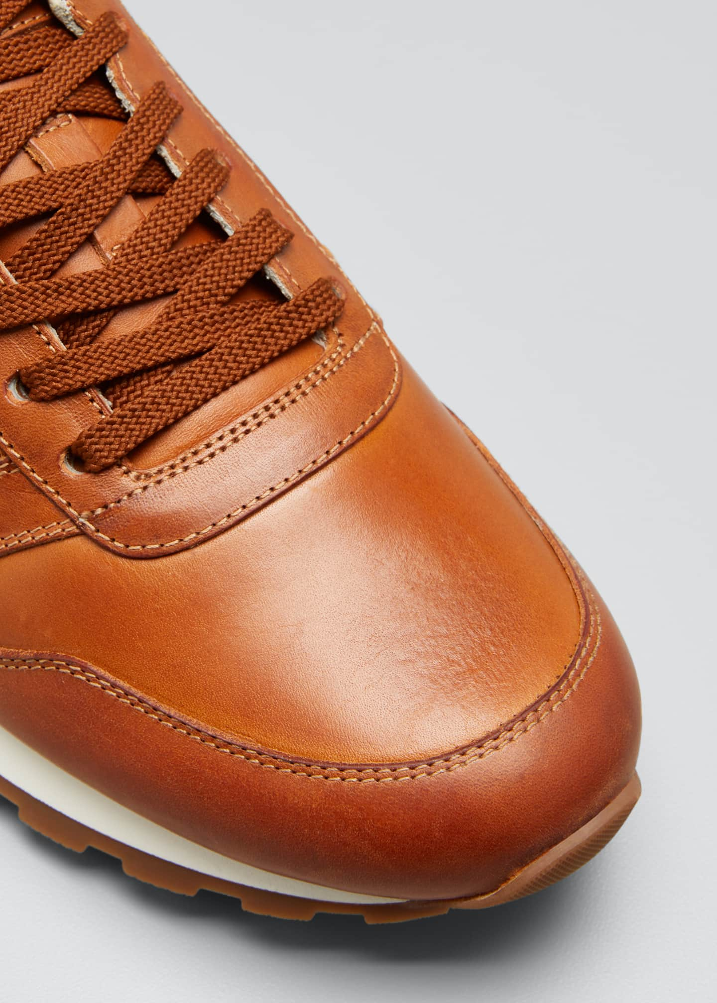 Image 3 of 3: Men's Leather Trainer Sneakers