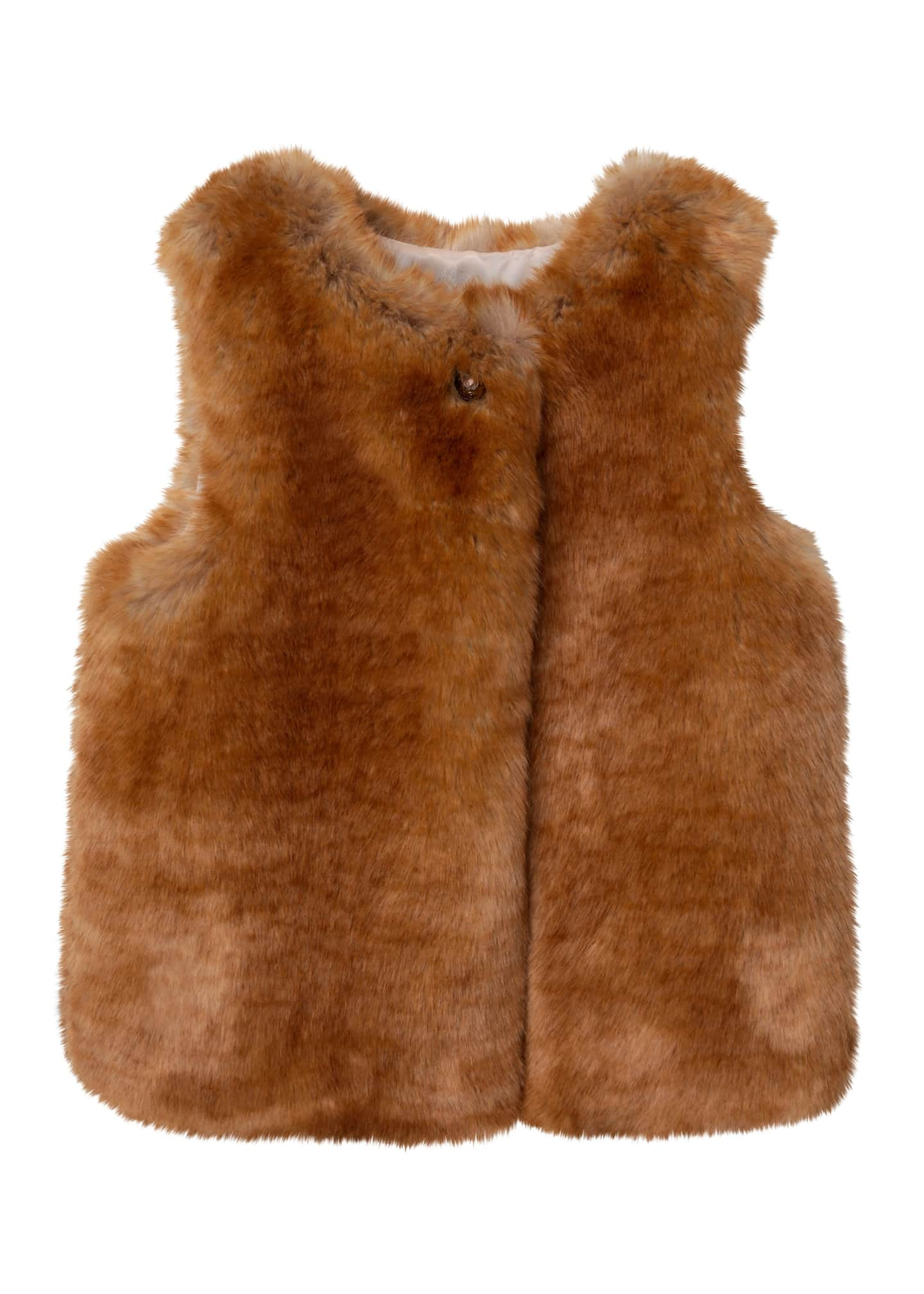 Image 1 of 1: Kid Girls' Faux Fur Vest with Arabesque C Button