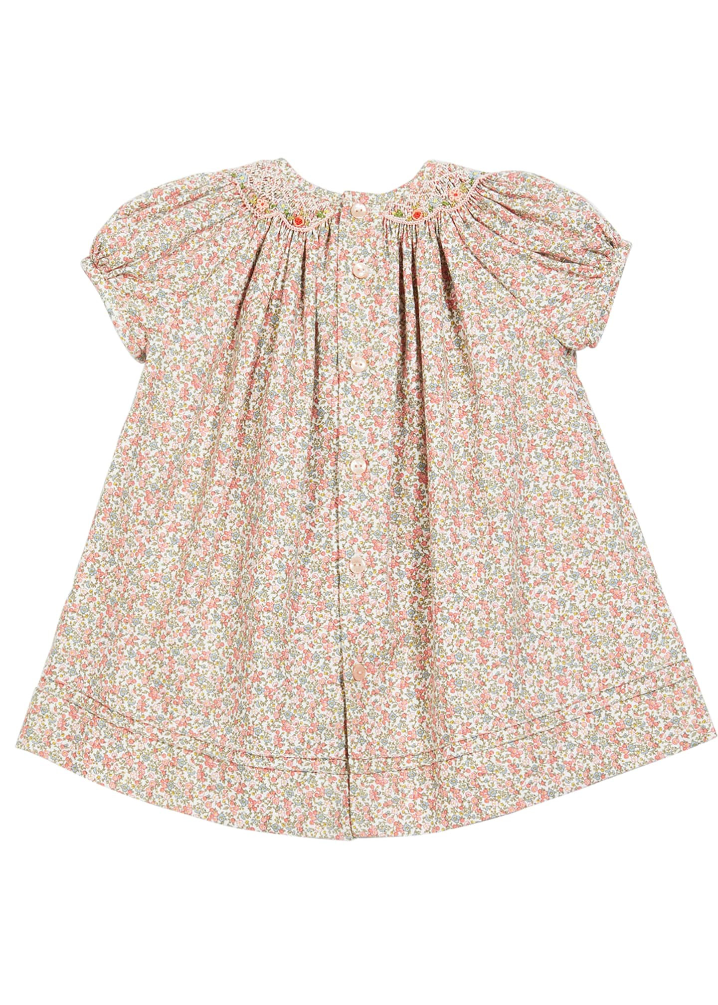 Image 2 of 2: Floral-Print Smocked Bishop Dress, Size 6-24 Months