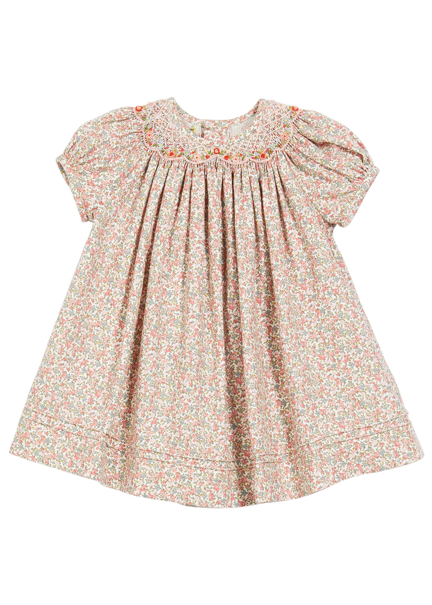 Image 1 of 2: Floral-Print Smocked Bishop Dress, Size 6-24 Months