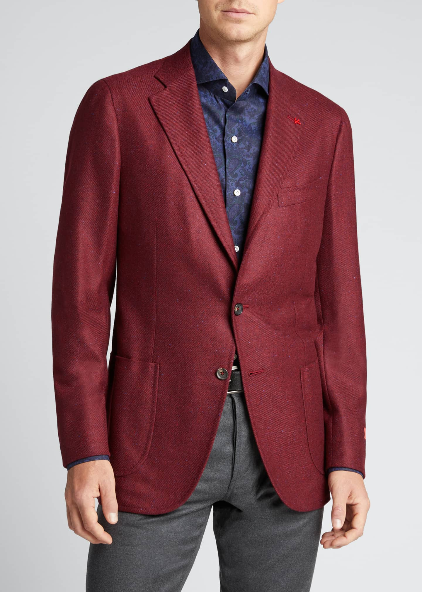 Image 3 of 5: Men's Cashmere-Silk Donegal Blazer