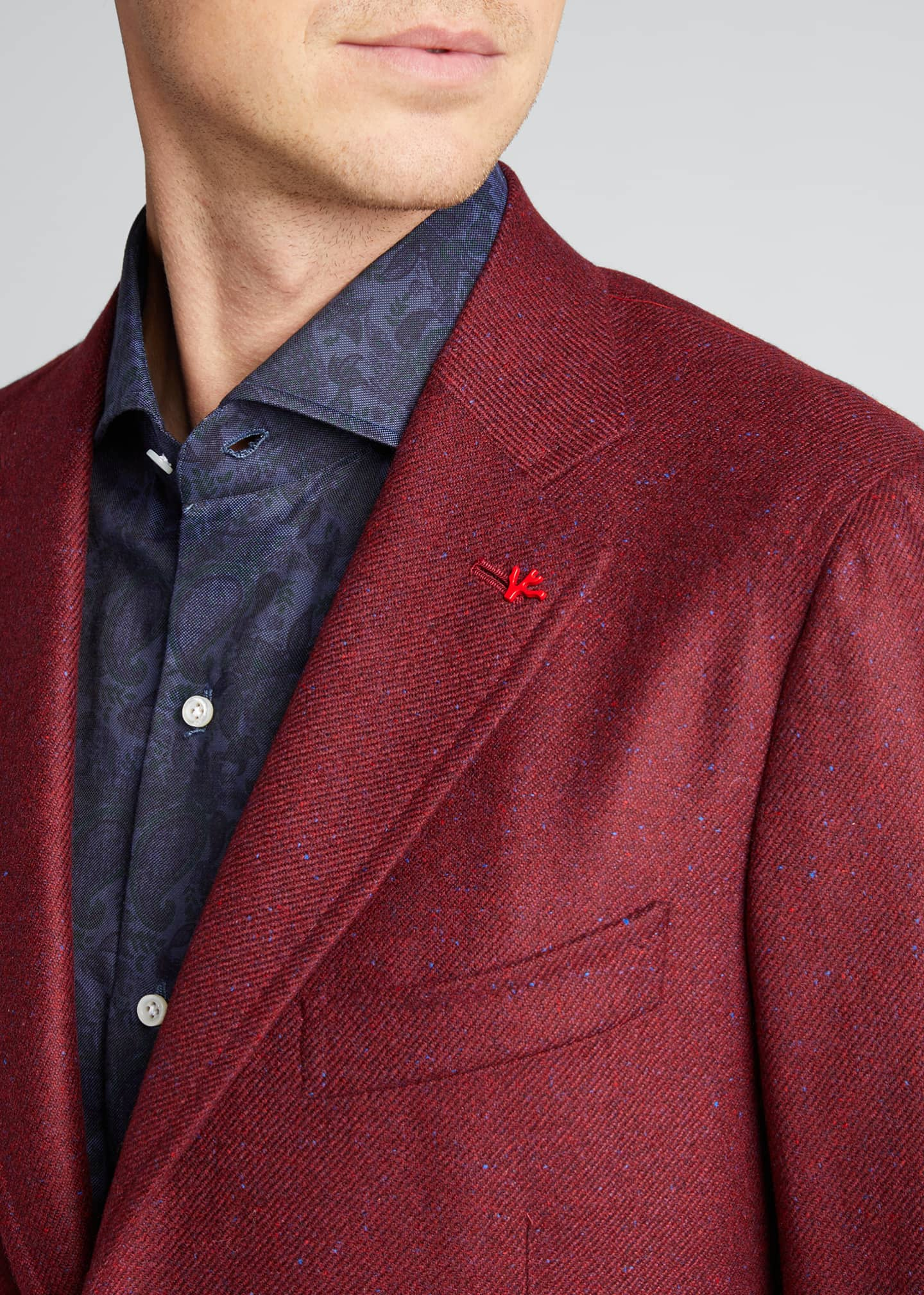 Image 4 of 5: Men's Cashmere-Silk Donegal Blazer