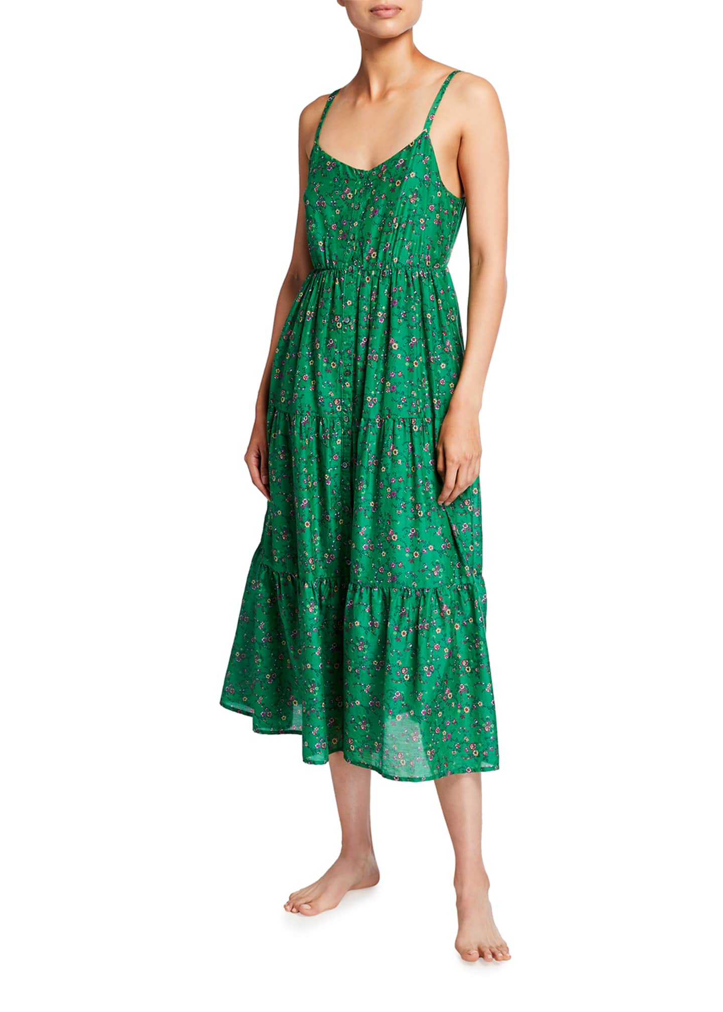 Image 1 of 2: Sophie Floral Print Tiered Lounge Dress