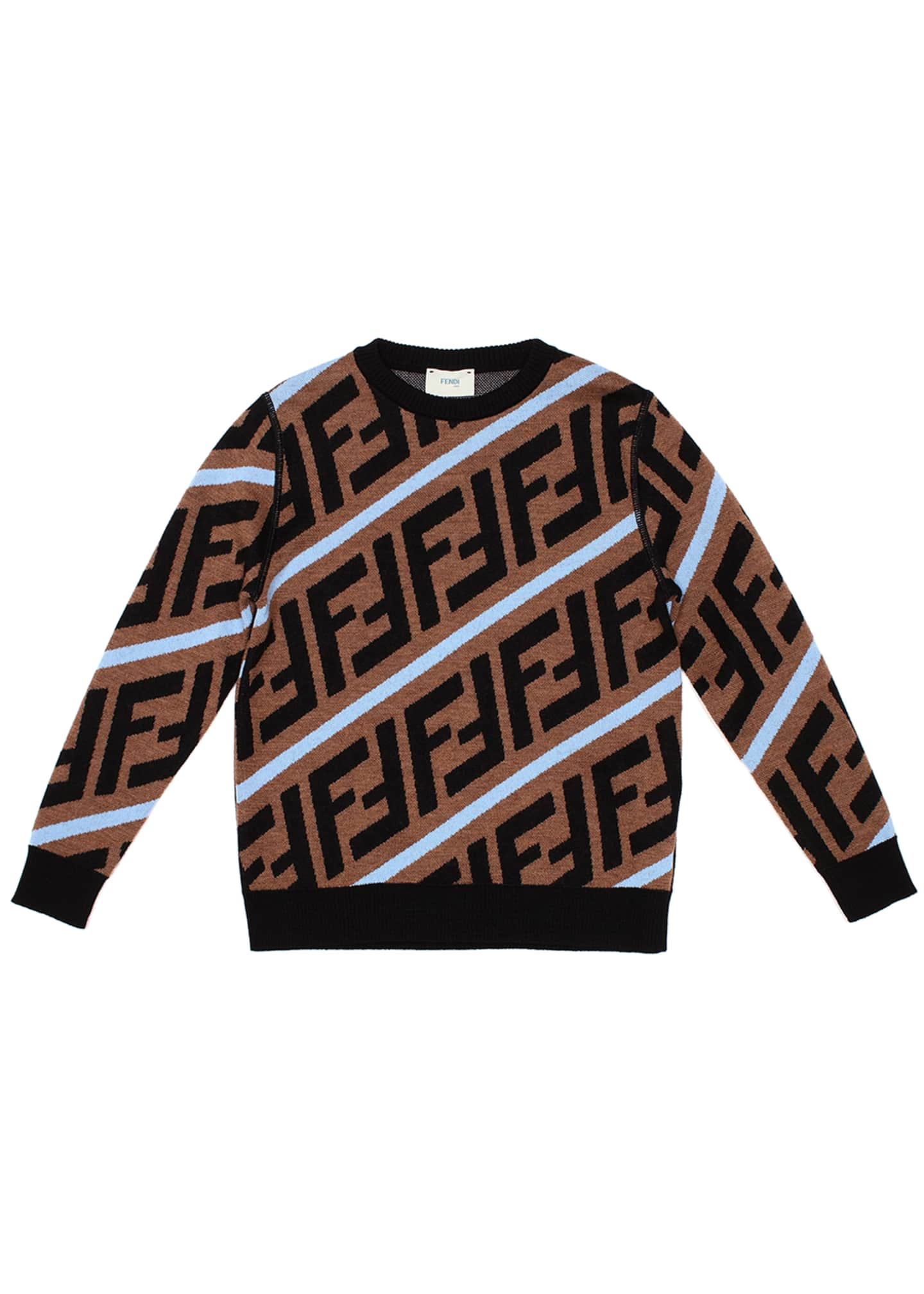 Image 1 of 1: Boy's Diagonal-Logo Wool Pullover Sweater, Size 4-6