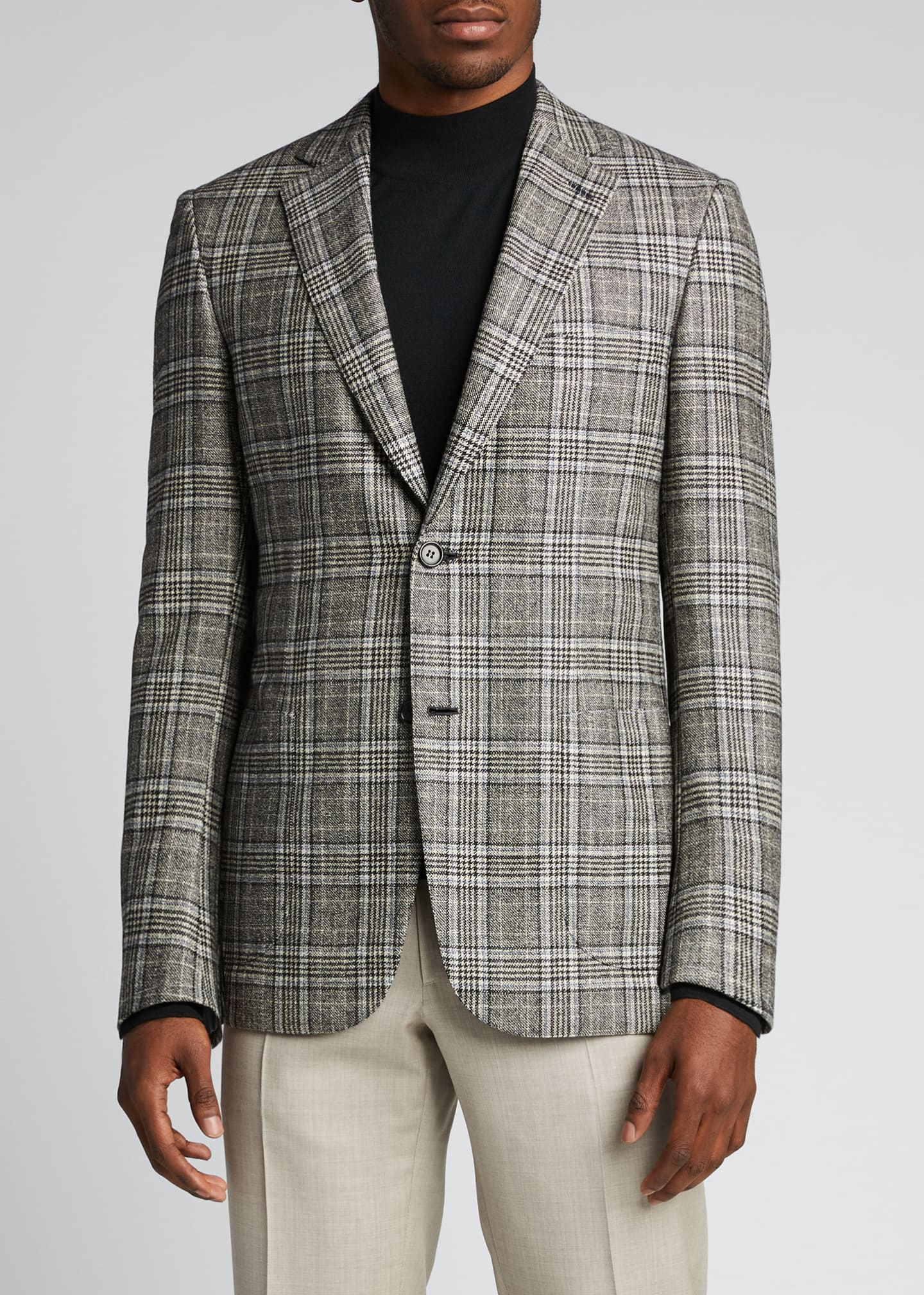 Image 3 of 5: Men's Plaid Sport Jacket
