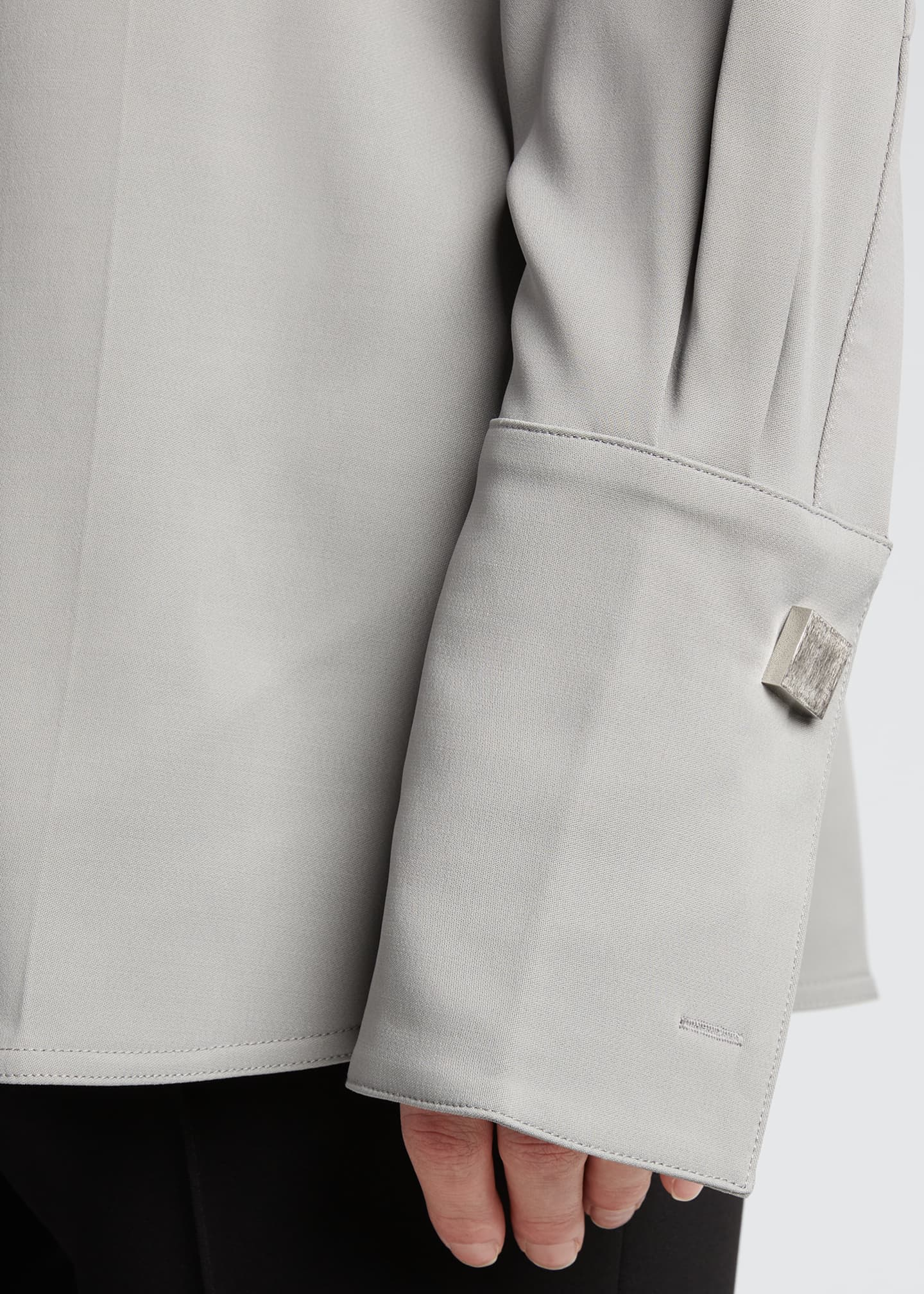 Image 4 of 5: Oversized Tuxedo Shirt w/ Cufflinks
