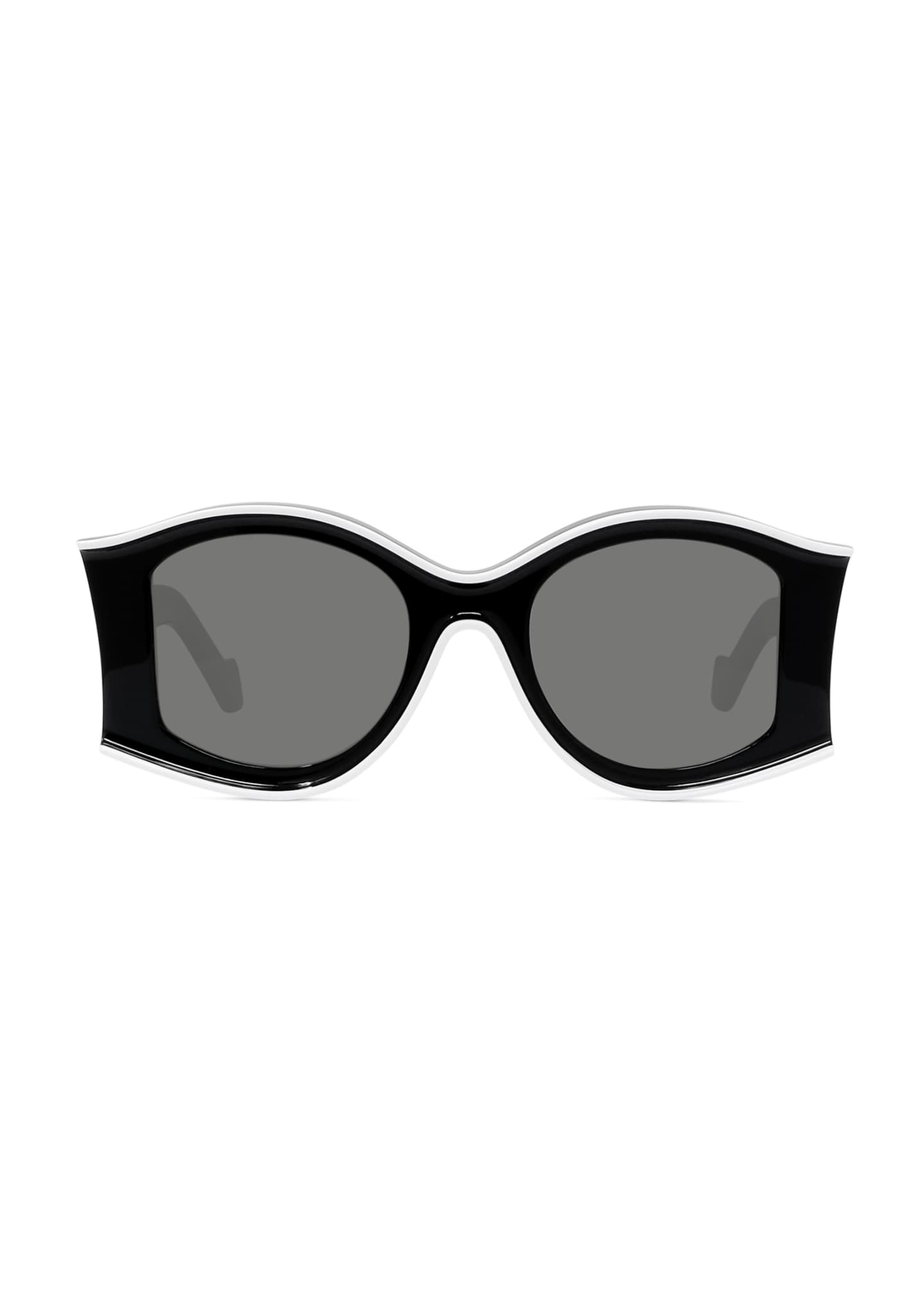 Image 3 of 3: Two-Tone Acetate Inset Round Sunglasses