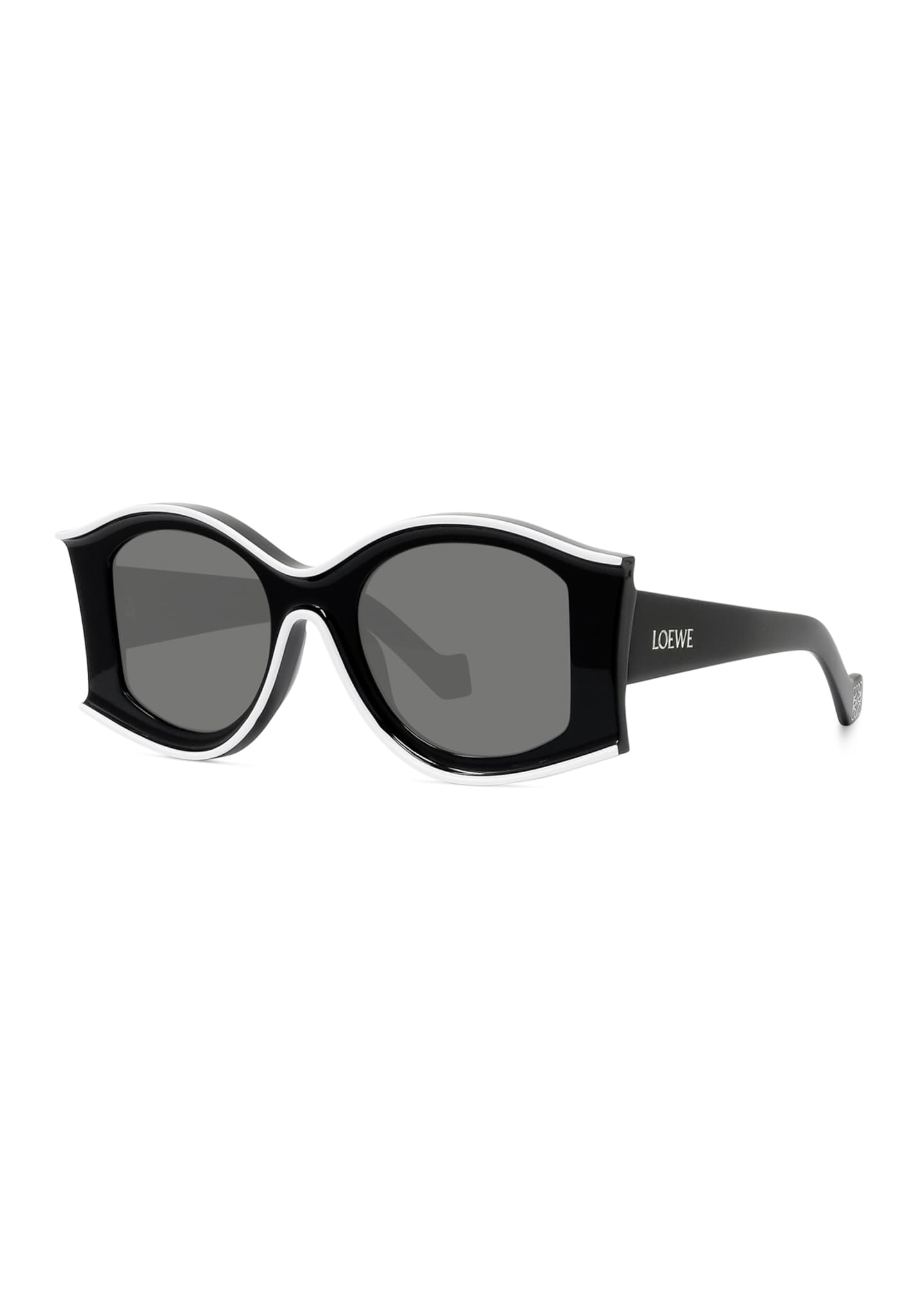 Image 1 of 3: Two-Tone Acetate Inset Round Sunglasses