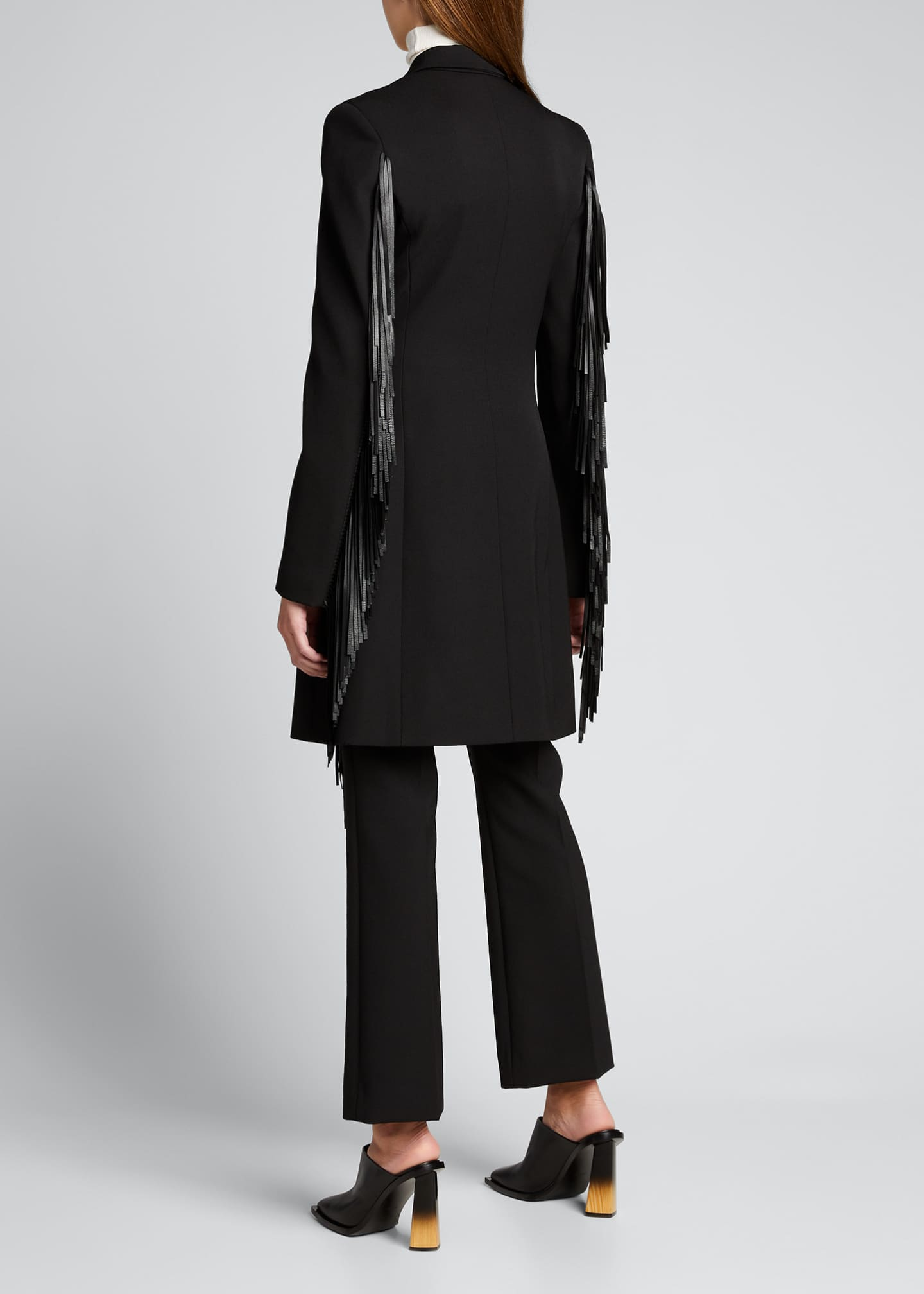 Image 2 of 5: Wool Gabardine Fringed Coat Dress