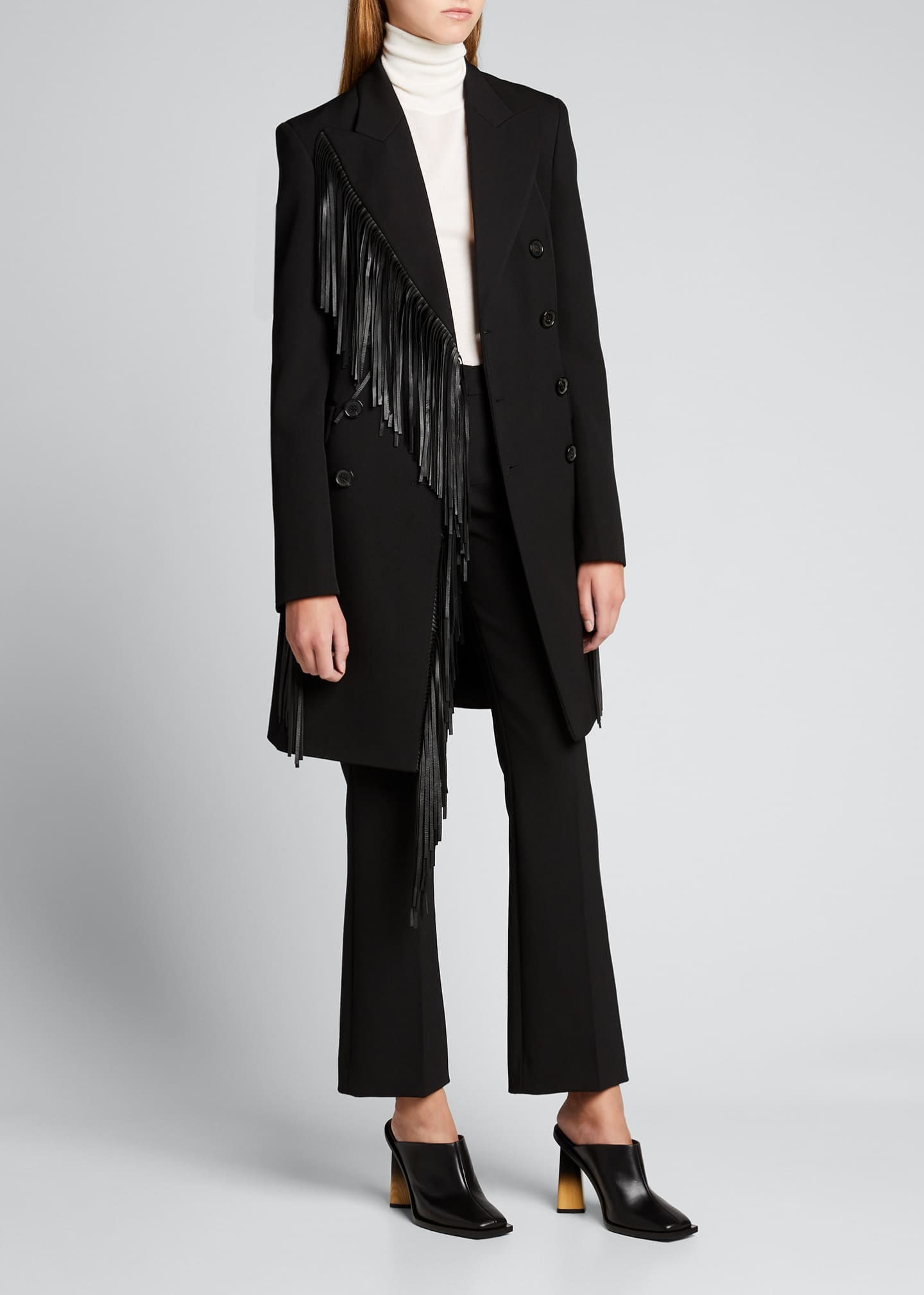 Image 3 of 5: Wool Gabardine Fringed Coat Dress